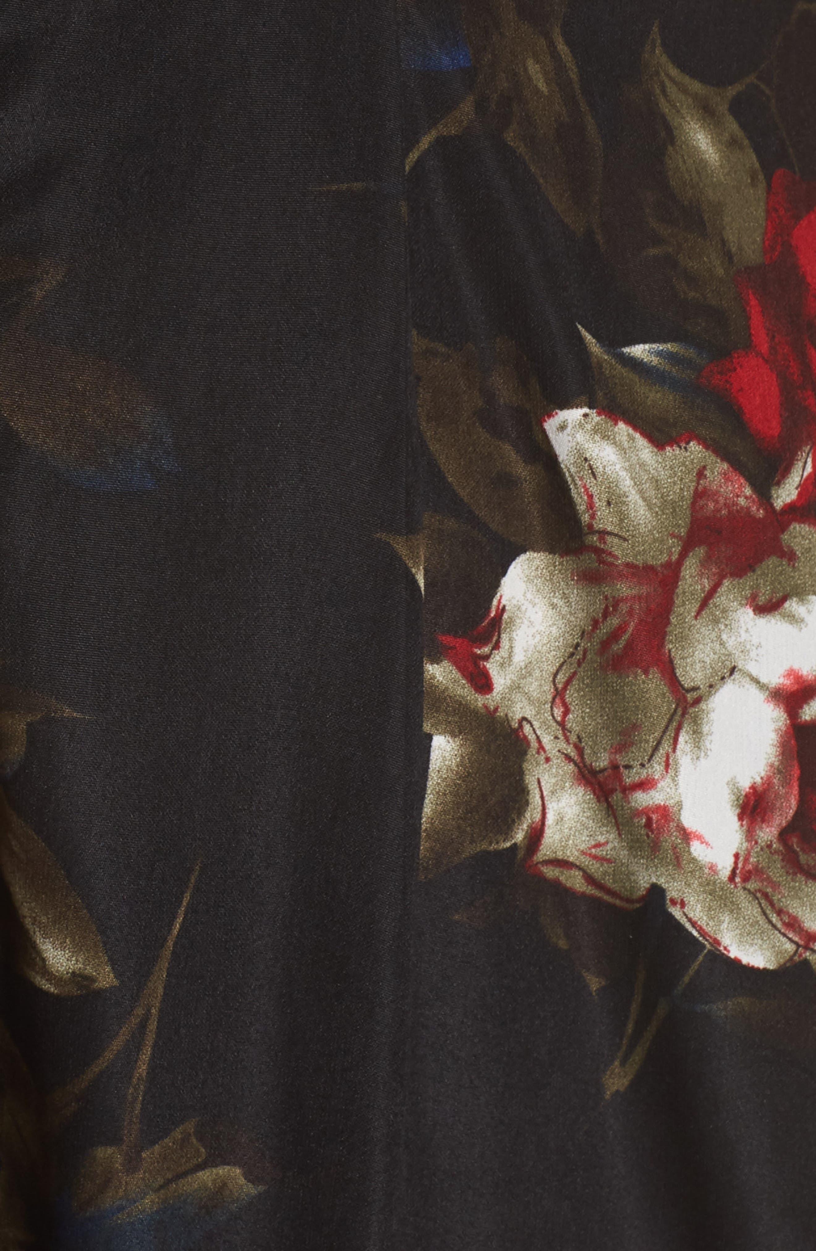 Off the Shoulder Midi Dress,                             Alternate thumbnail 12, color,                             BLACK LUSH ROSE FLORAL