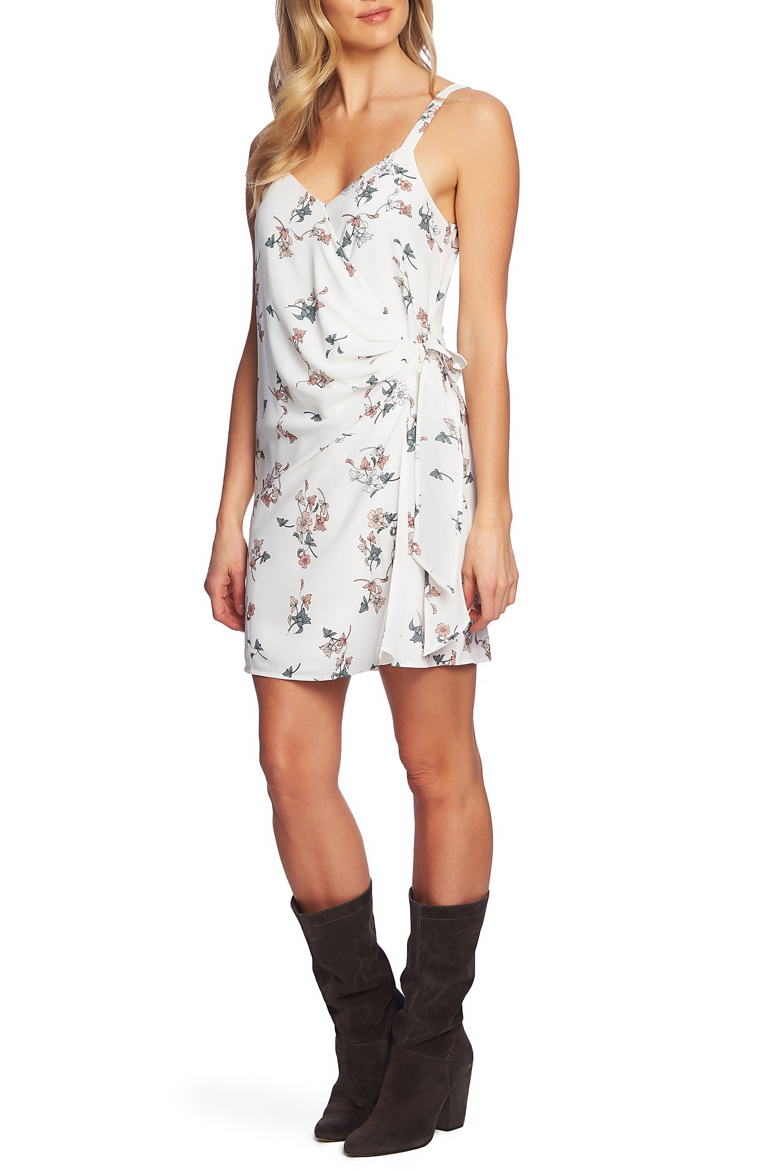 1.state Floral Belle Wrap Front Dress, White