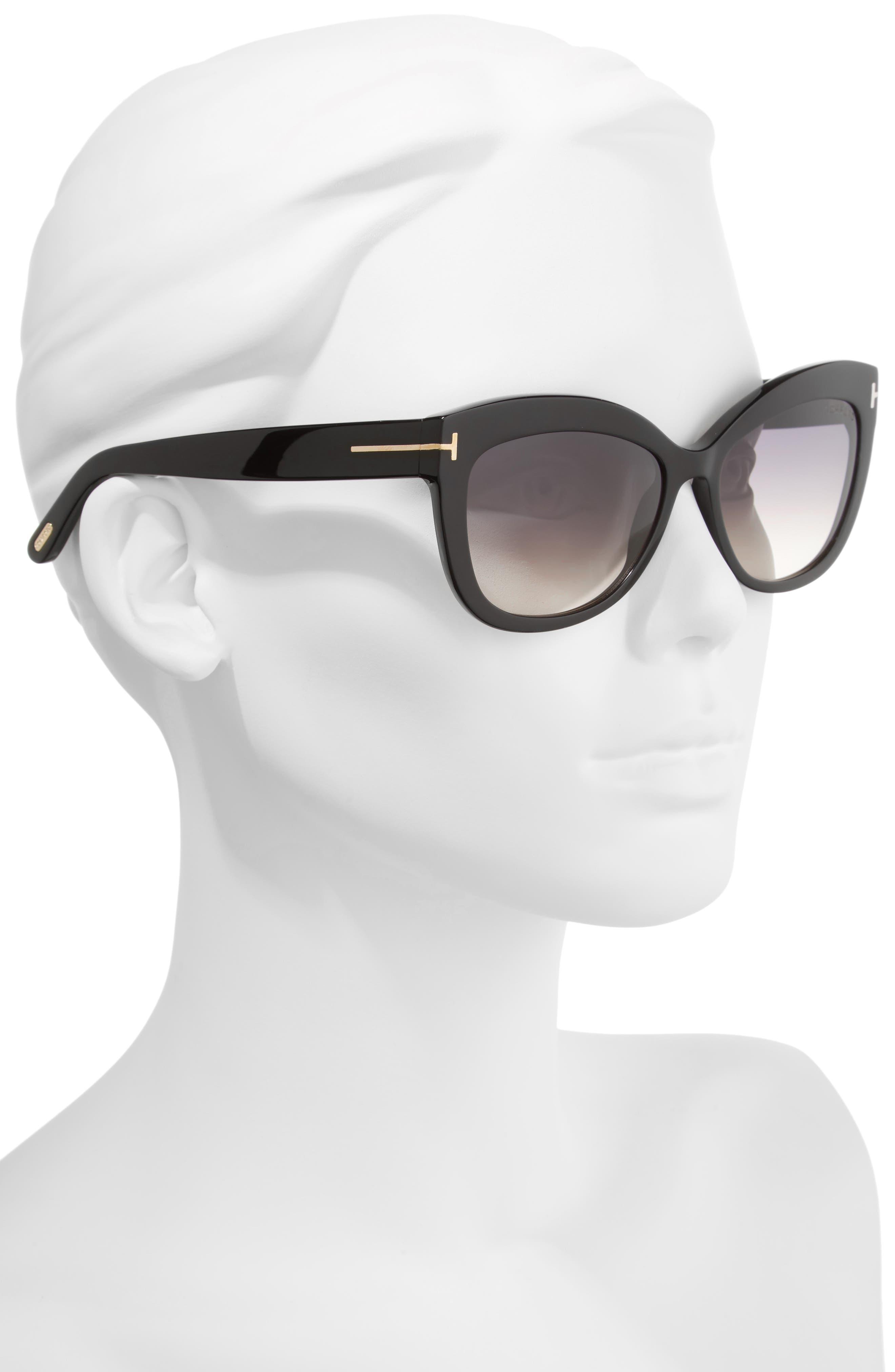 Alistair 56mm Gradient Sunglasses,                             Alternate thumbnail 2, color,                             SHINY BLACK / GRADIENT SMOKE