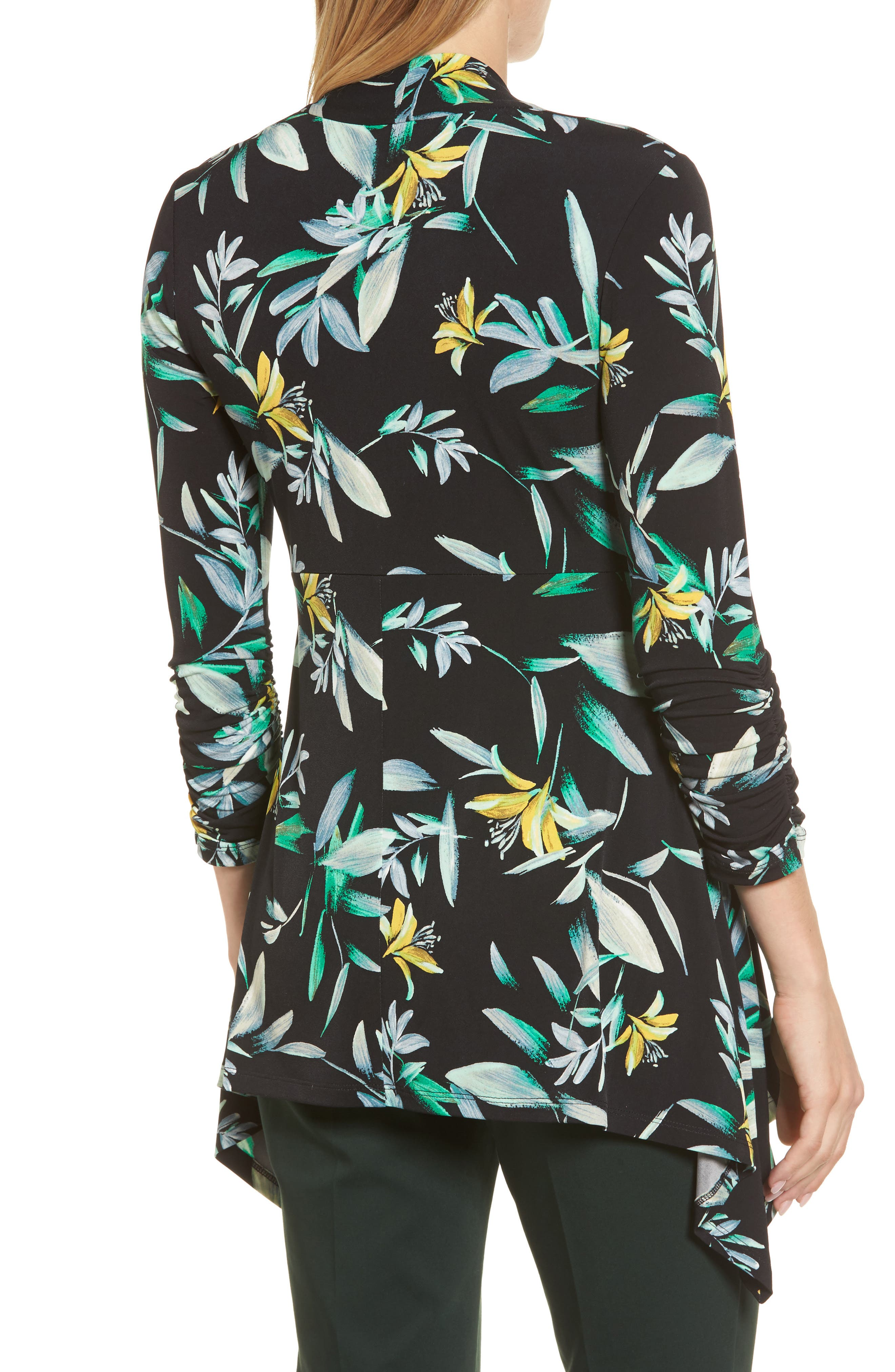 Ruched Sleeve Floral Print Top,                             Alternate thumbnail 2, color,                             010