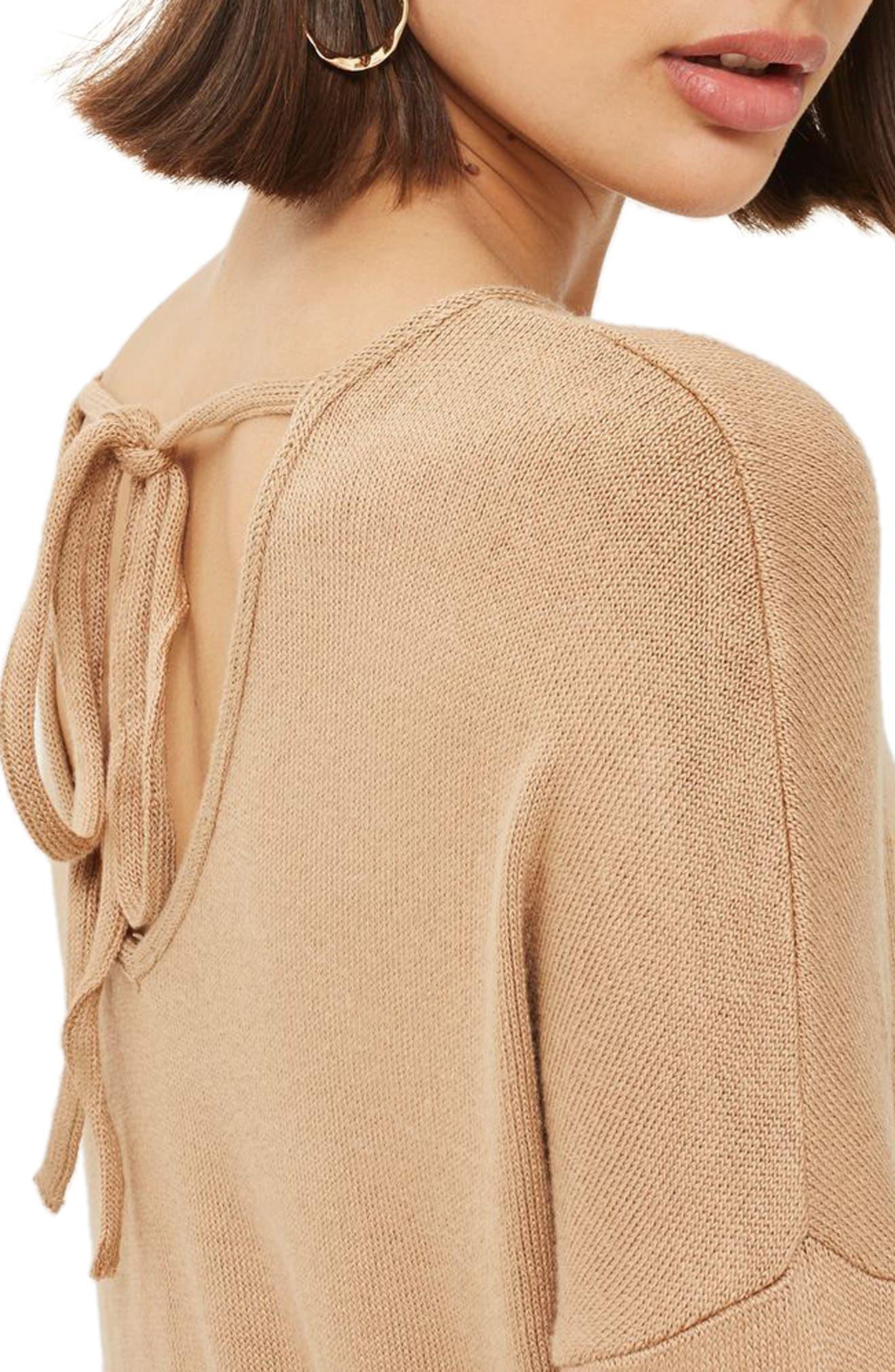 Drop Shoulder Tie Back Sweater,                             Alternate thumbnail 5, color,