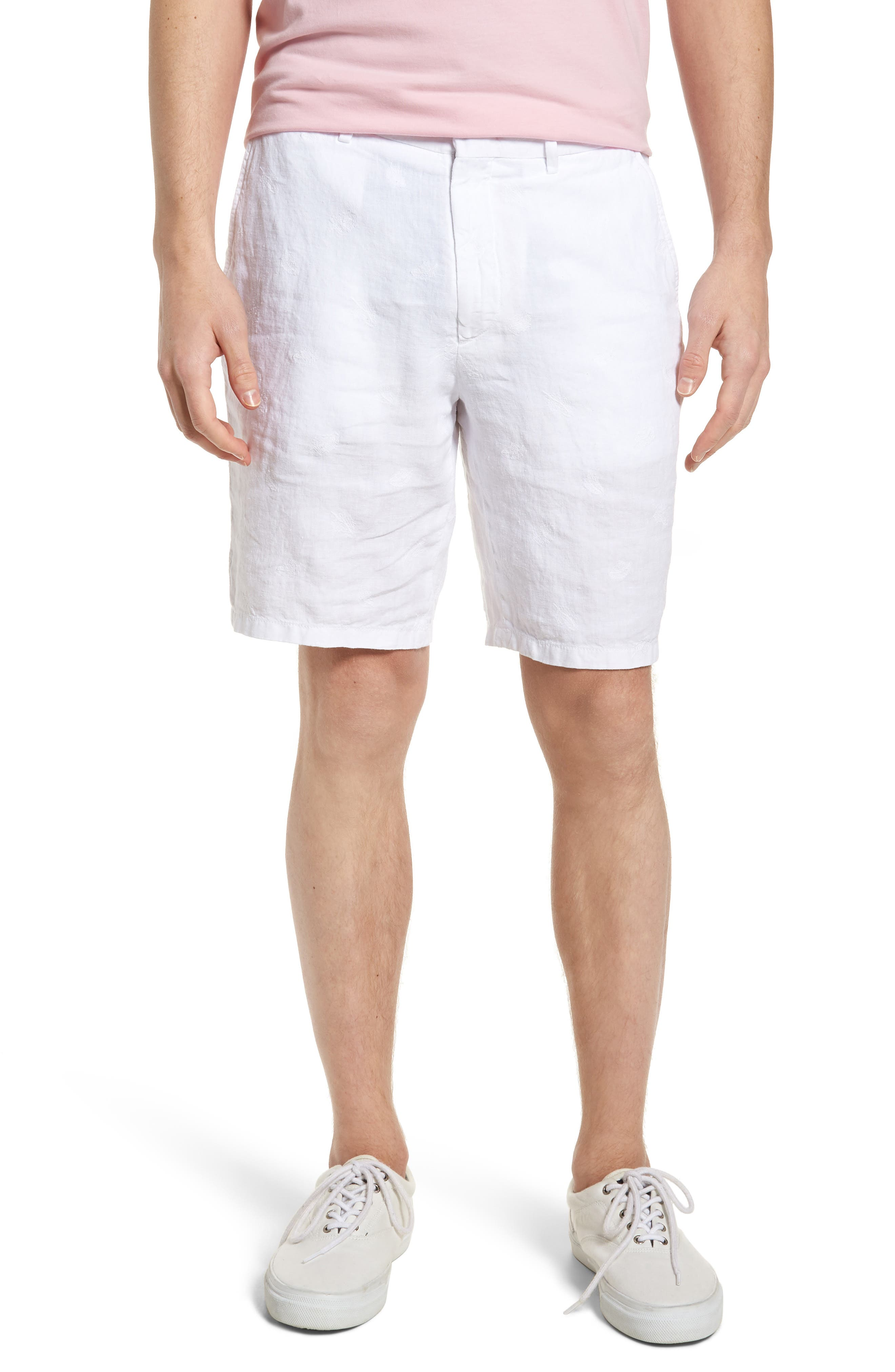 Embroidered Linen Blend Shorts,                         Main,                         color, BLANC