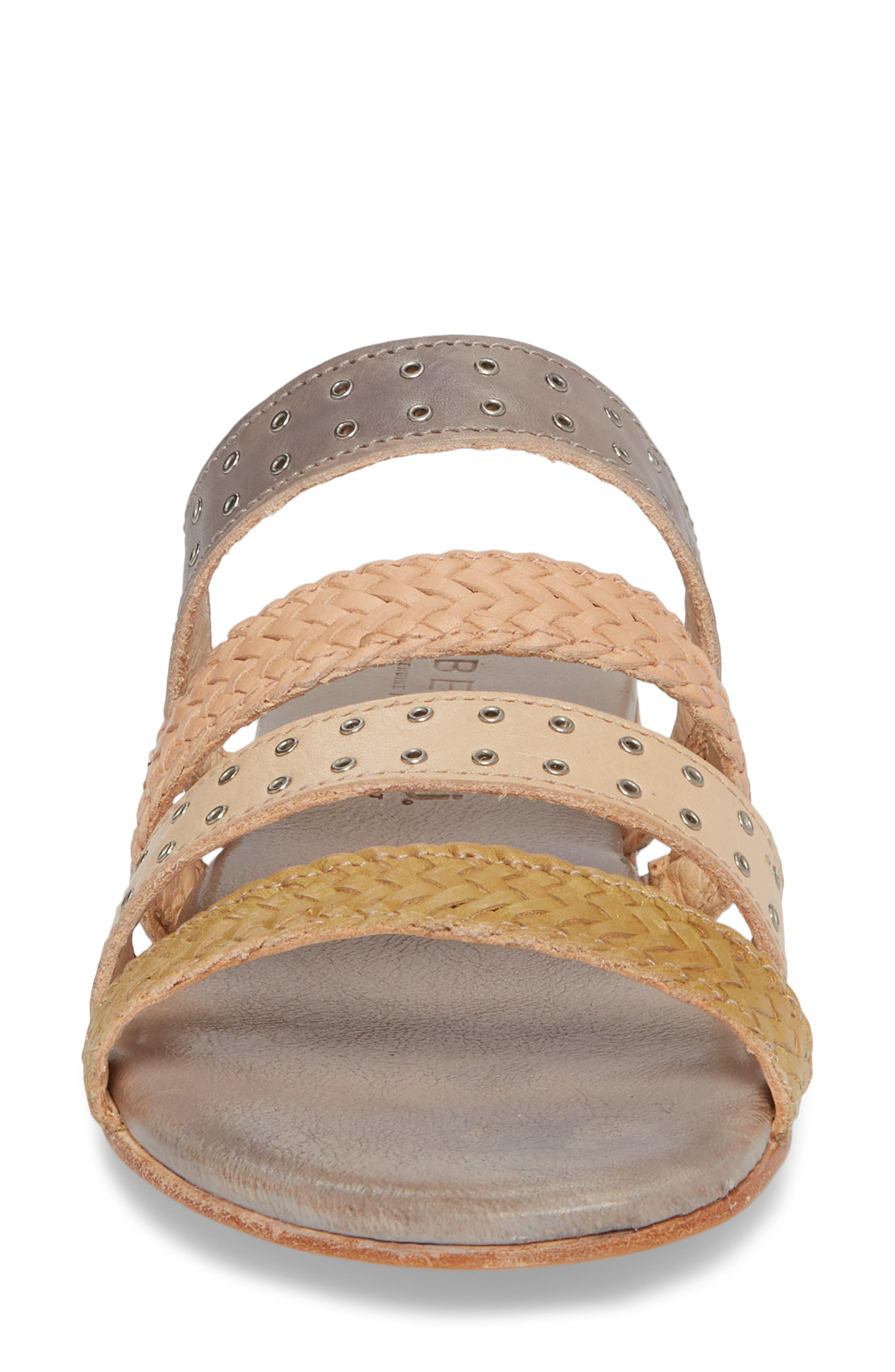 Henna Slide Sandal,                             Alternate thumbnail 4, color,                             CASHEW/ LIGHT GREY LEATHER