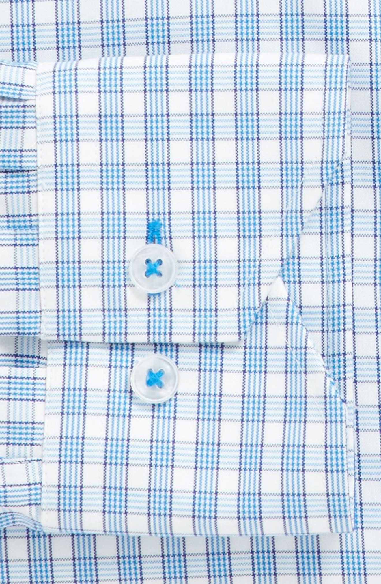 Trim Fit Plaid Dress Shirt,                             Alternate thumbnail 3, color,