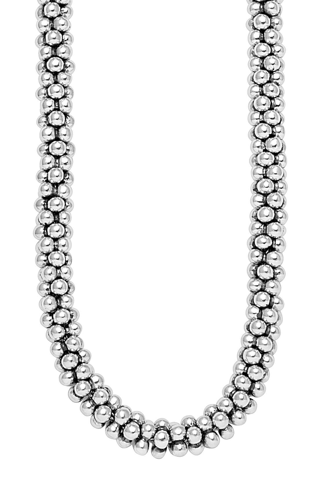 Sterling Silver Caviar 7mm Rope Necklace,                             Alternate thumbnail 2, color,                             STERLING SILVER