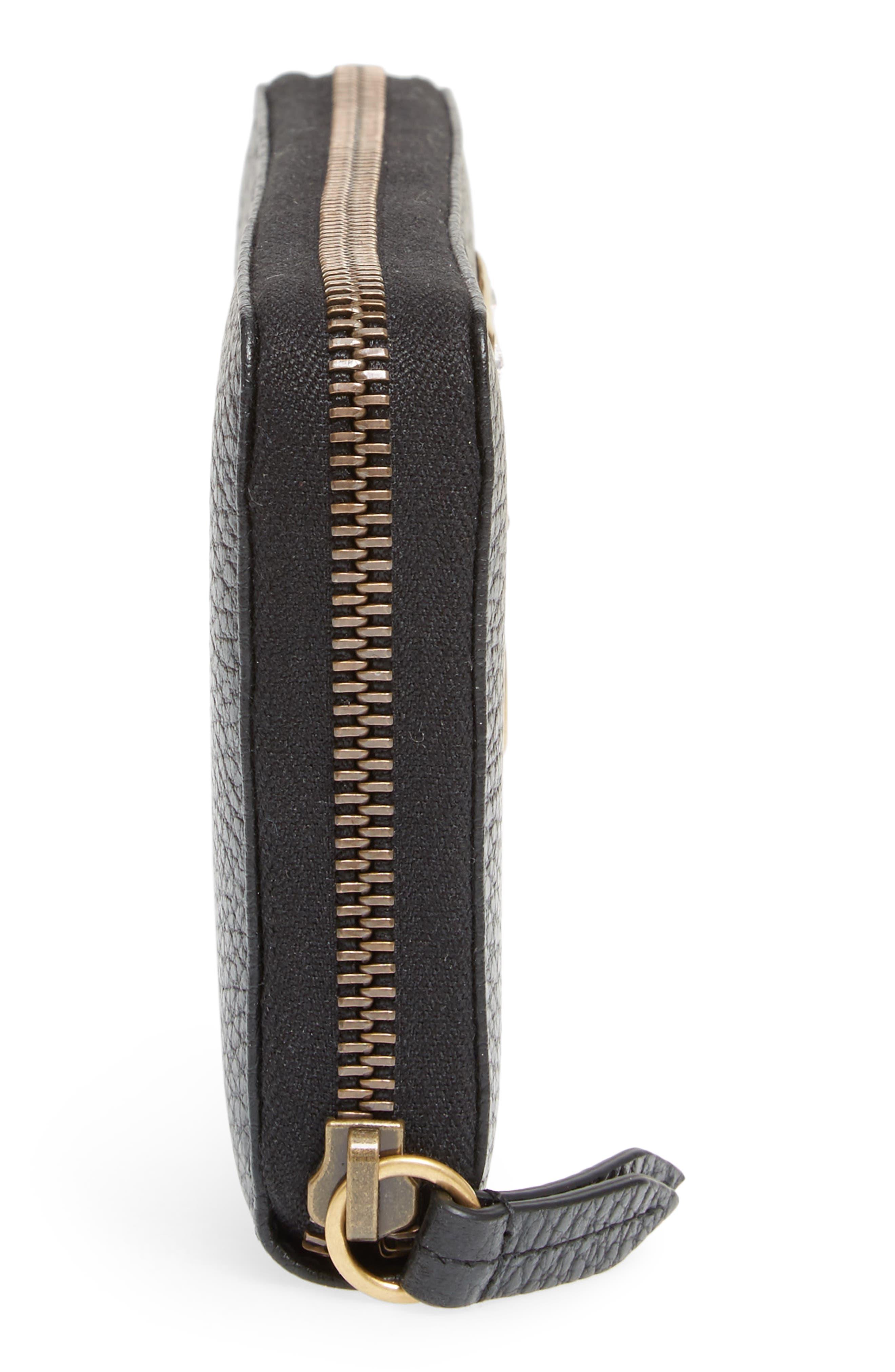 Farfalla Zip Around Leather Wallet,                             Alternate thumbnail 5, color,                             NERO/ CRYSTAL