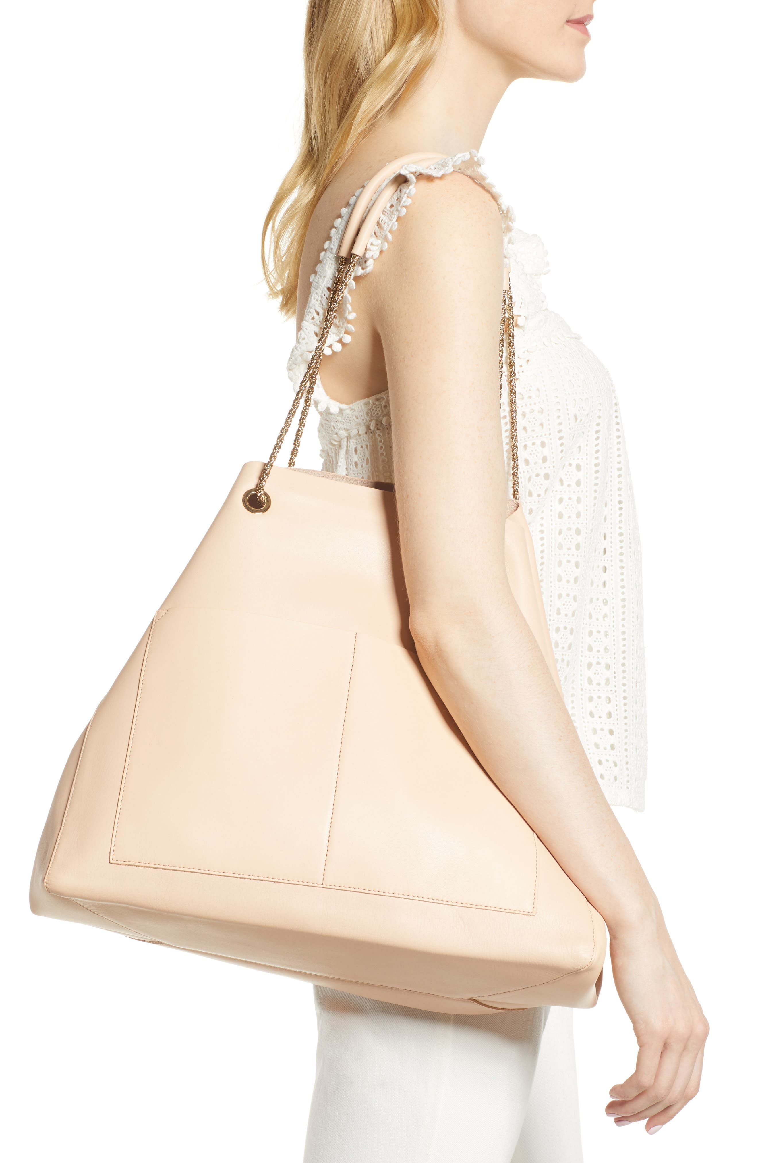Gaby Leather Tote,                             Alternate thumbnail 2, color,                             NUDE
