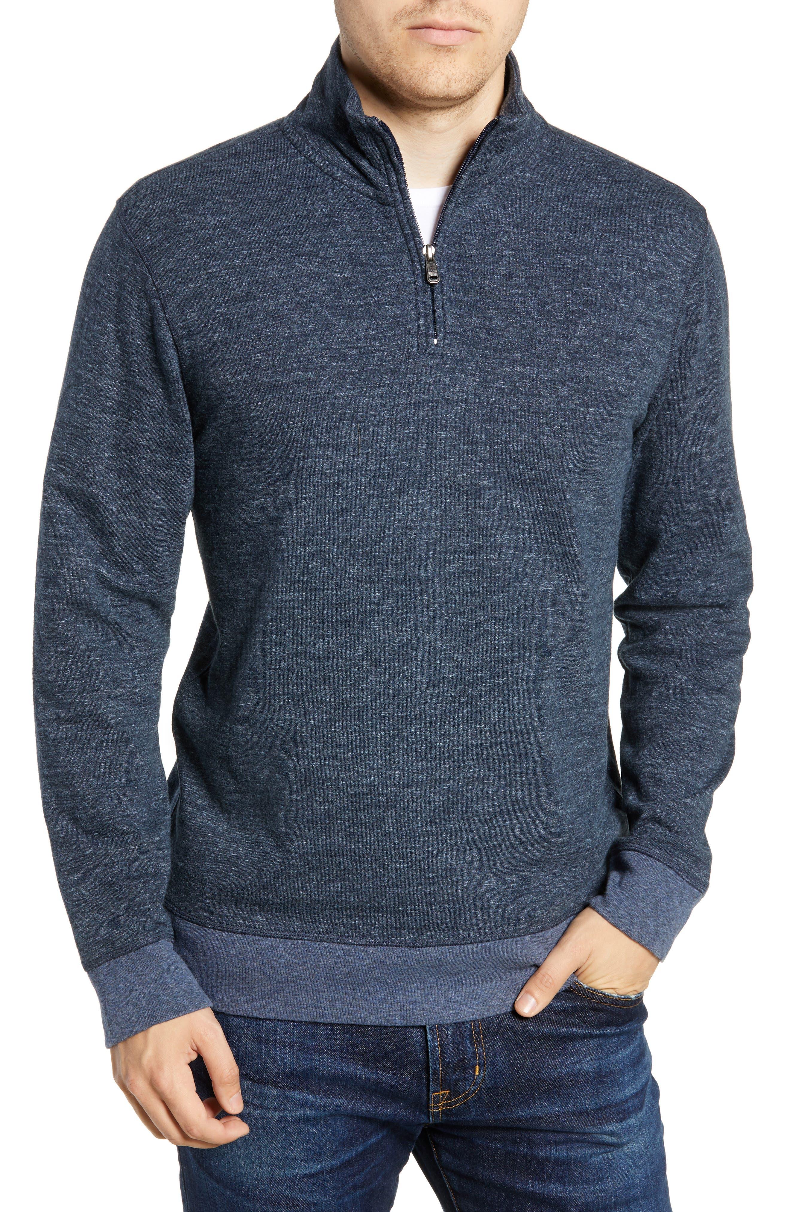 Brand Dual Knit Regular Fit Quarter Zip Pullover,                         Main,                         color, NAVY