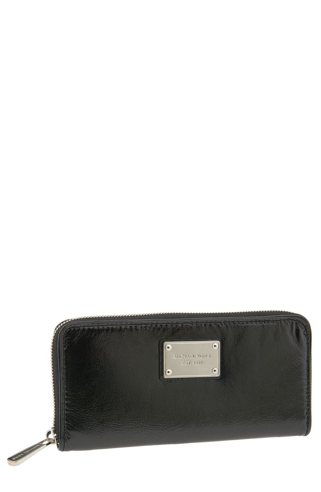 MICHAEL MICHAEL KORS,                             'Jet Set' Zip Around Continental Wallet,                             Main thumbnail 1, color,                             001