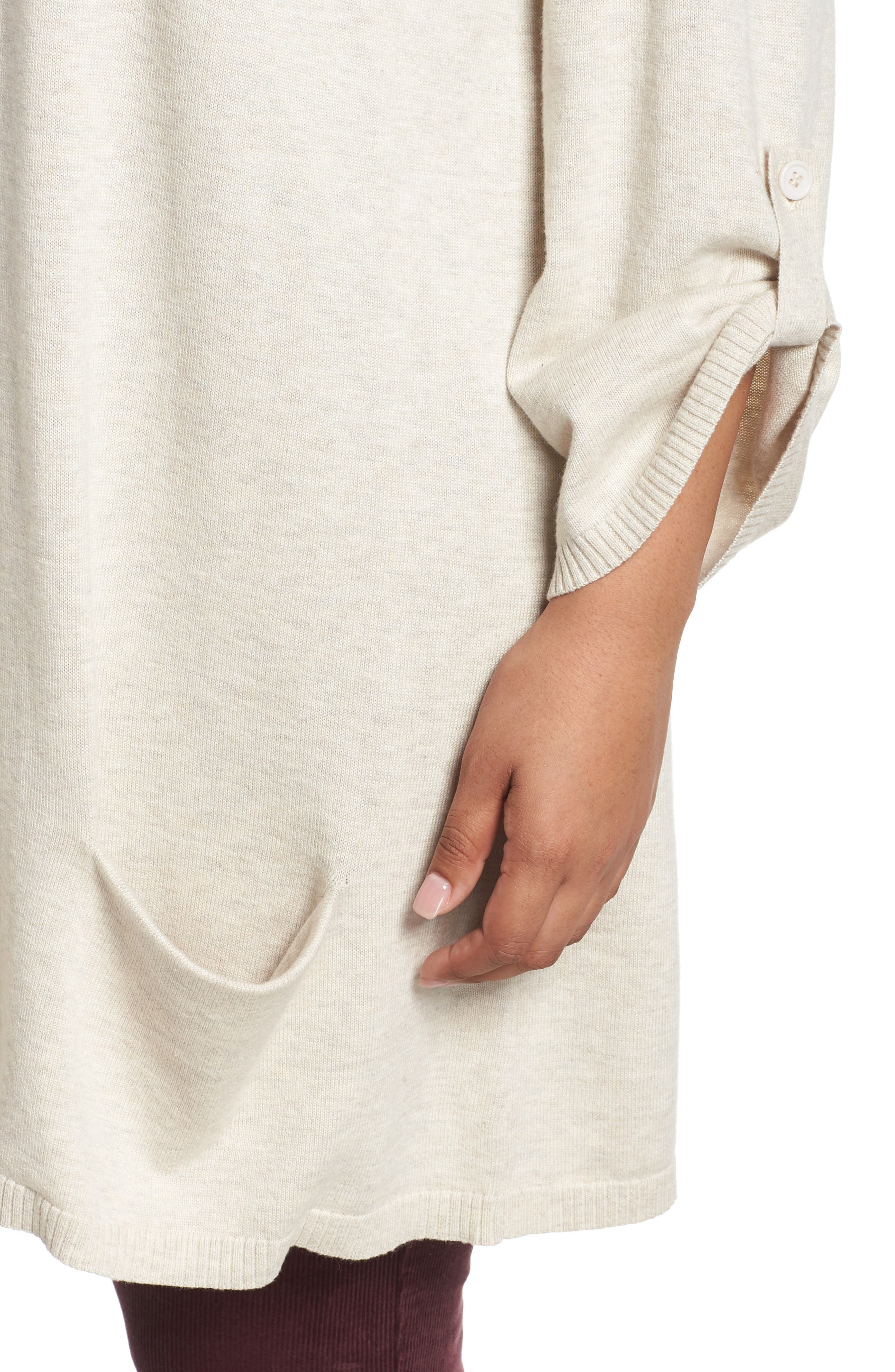CASLON<SUP>®</SUP>,                             Roll Sleeve Tunic Sweater,                             Alternate thumbnail 4, color,                             BEIGE OATMEAL LIGHT HEATHER