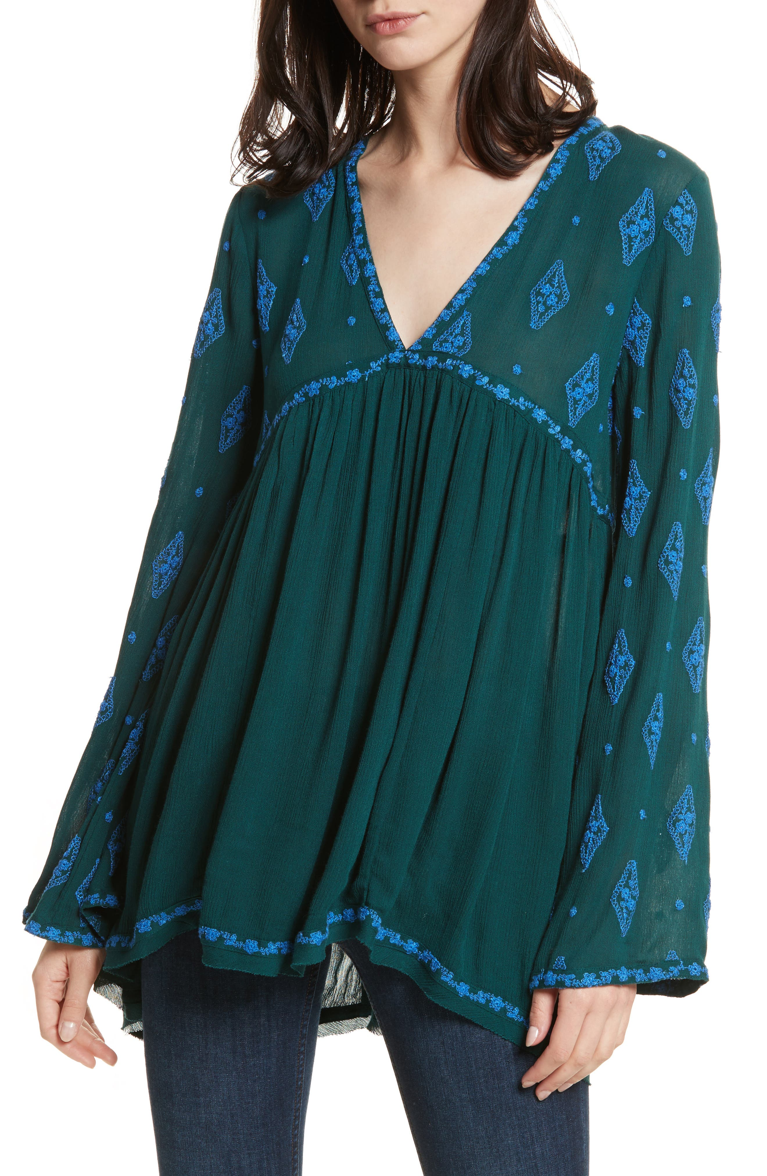 Embroidered Bell Sleeve Top,                             Main thumbnail 5, color,