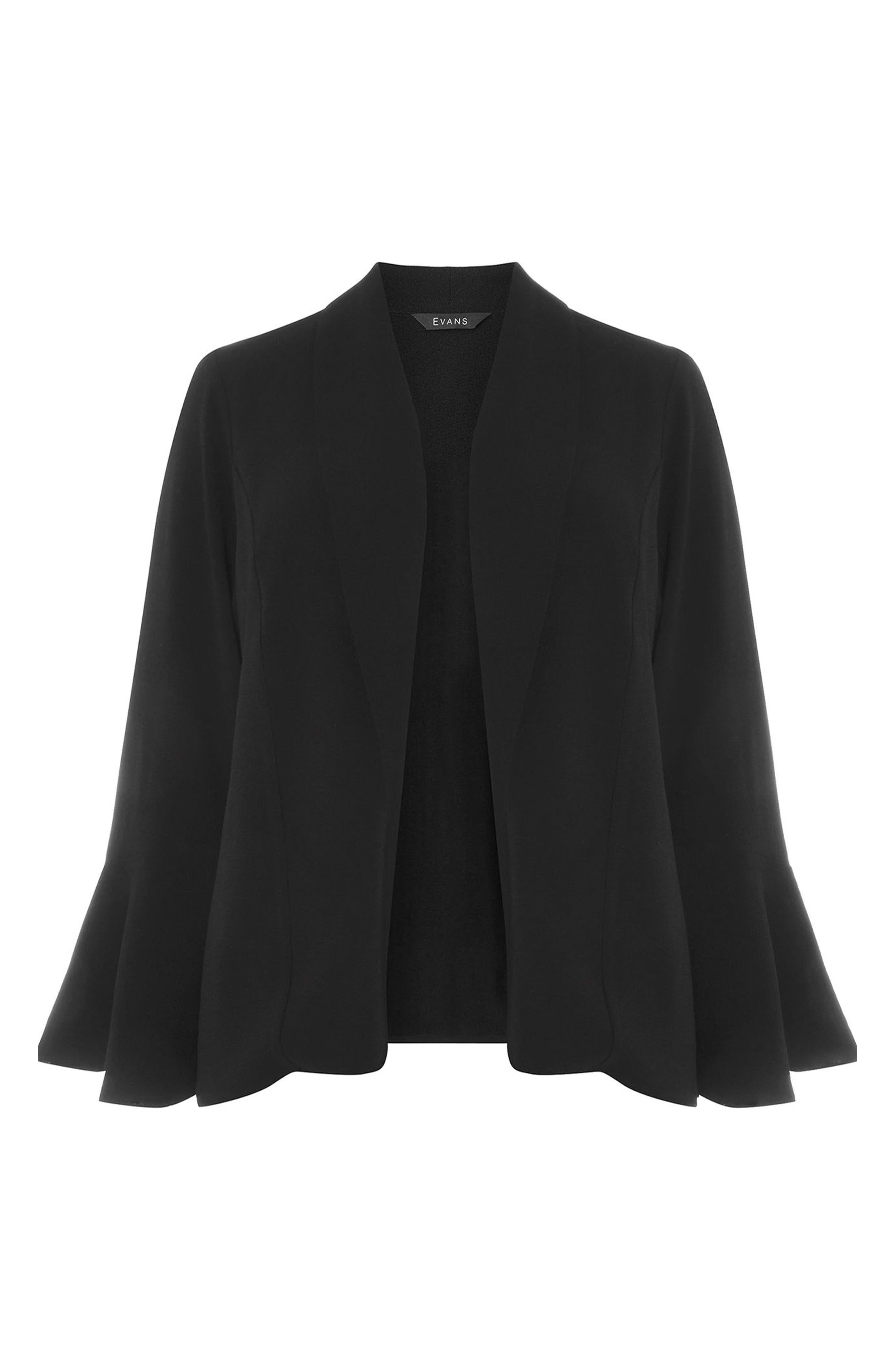 Bell Sleeve Crepe Jacket,                             Alternate thumbnail 5, color,                             001