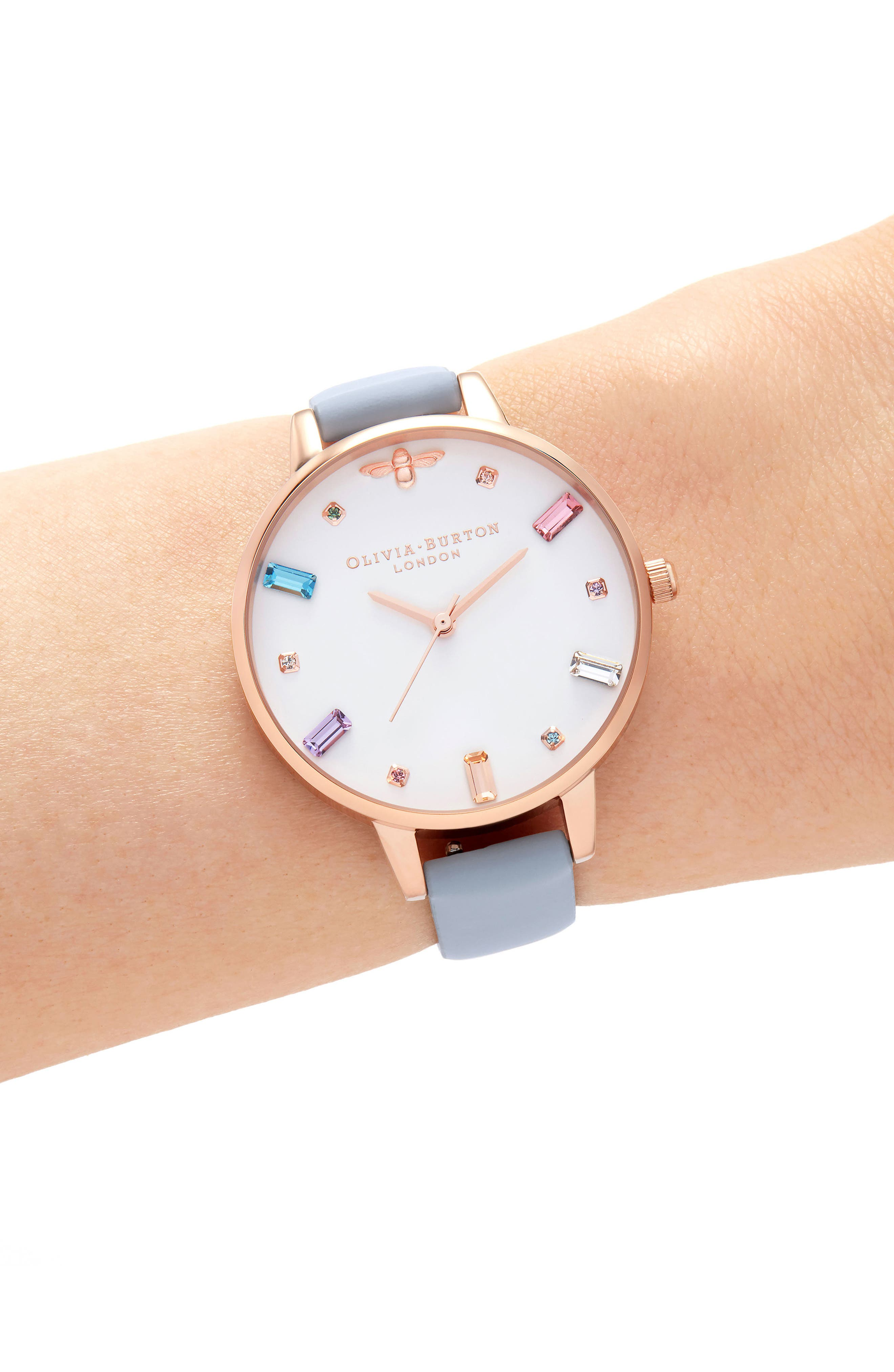 Rainbow Stone Leather Strap Watch, 34mm,                             Alternate thumbnail 2, color,                             CHALK BUE/ WHITE/ ROSE GOLD