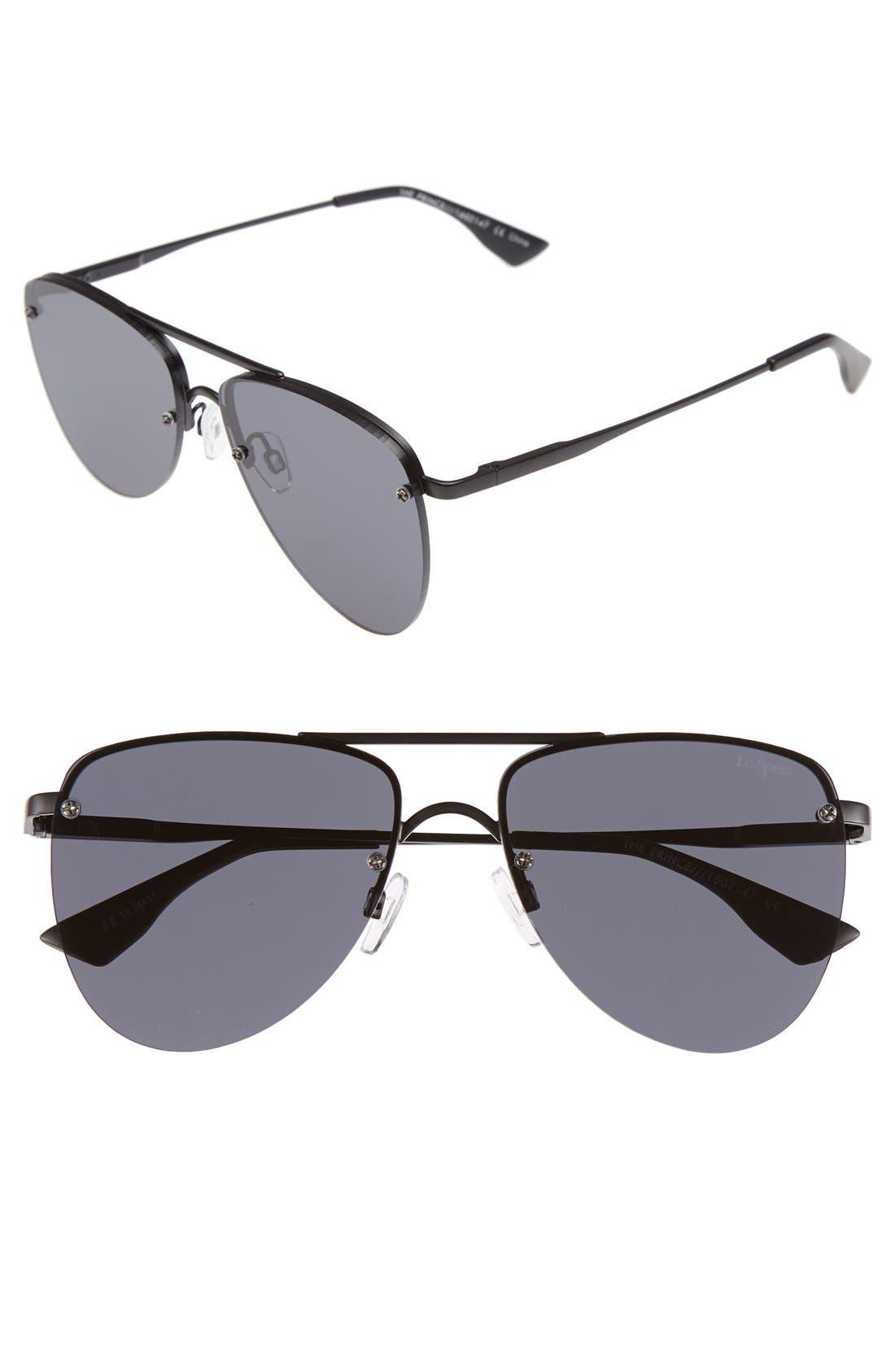 The Prince 57mm Aviator Sunglasses,                             Main thumbnail 1, color,                             BLACK