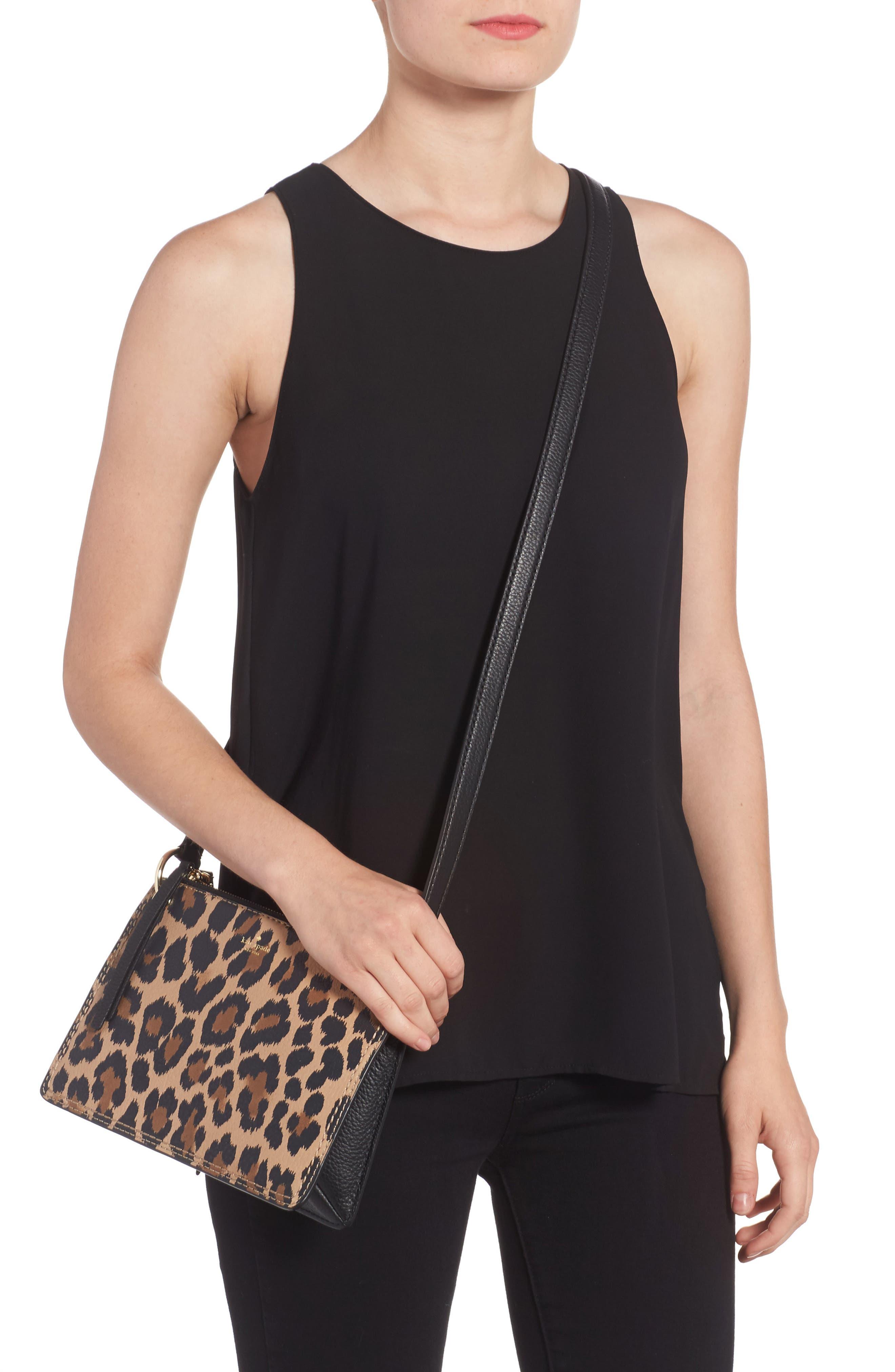dunne lane - leopard caro leather crossbody bag,                             Alternate thumbnail 2, color,                             200