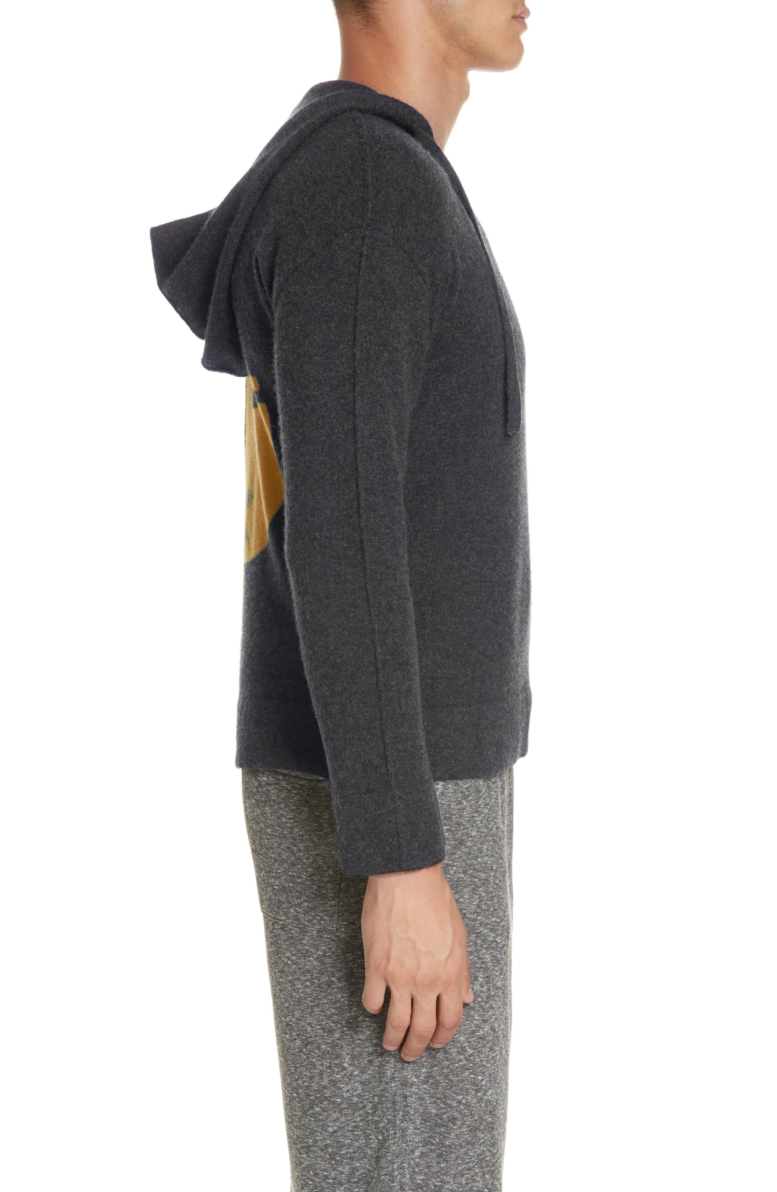 Jamie Sunset Cashmere Hooded Sweater,                             Alternate thumbnail 3, color,                             CHARCOAL
