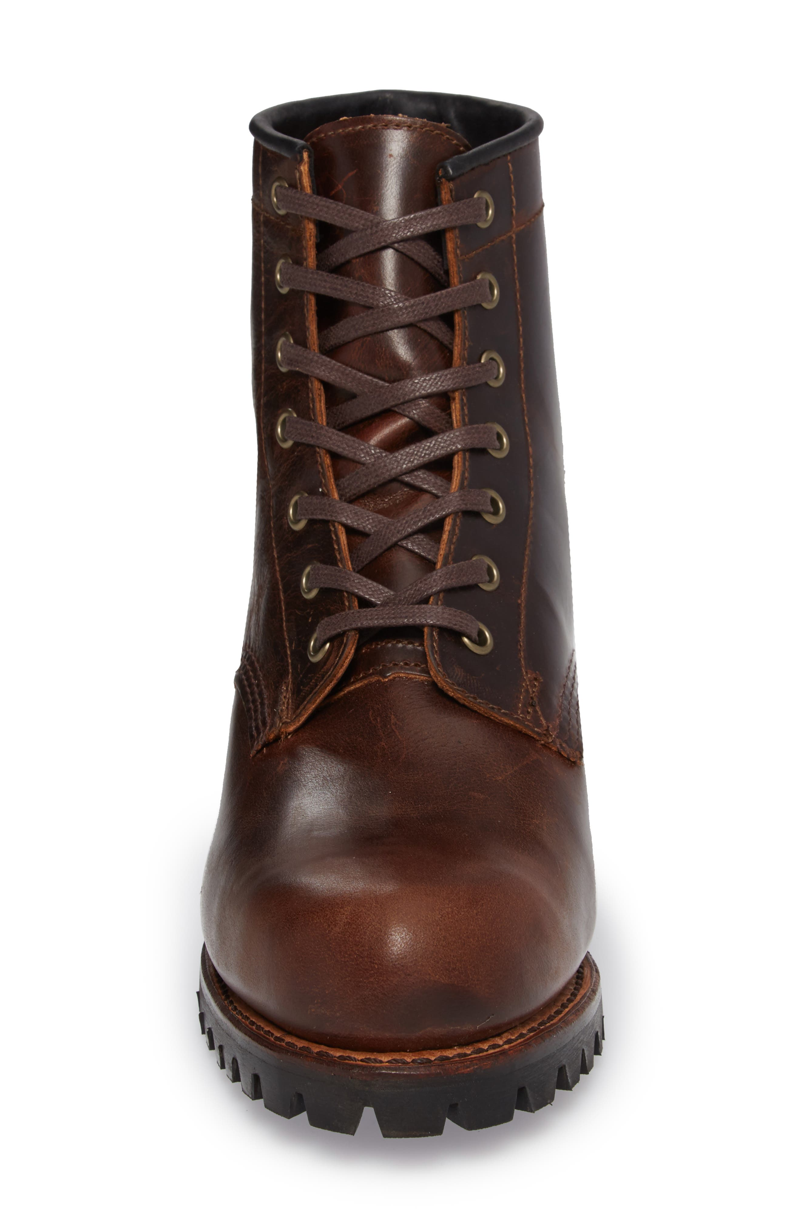 Addison Lace-Up Boot,                             Alternate thumbnail 4, color,                             DARK BROWN LEATHER