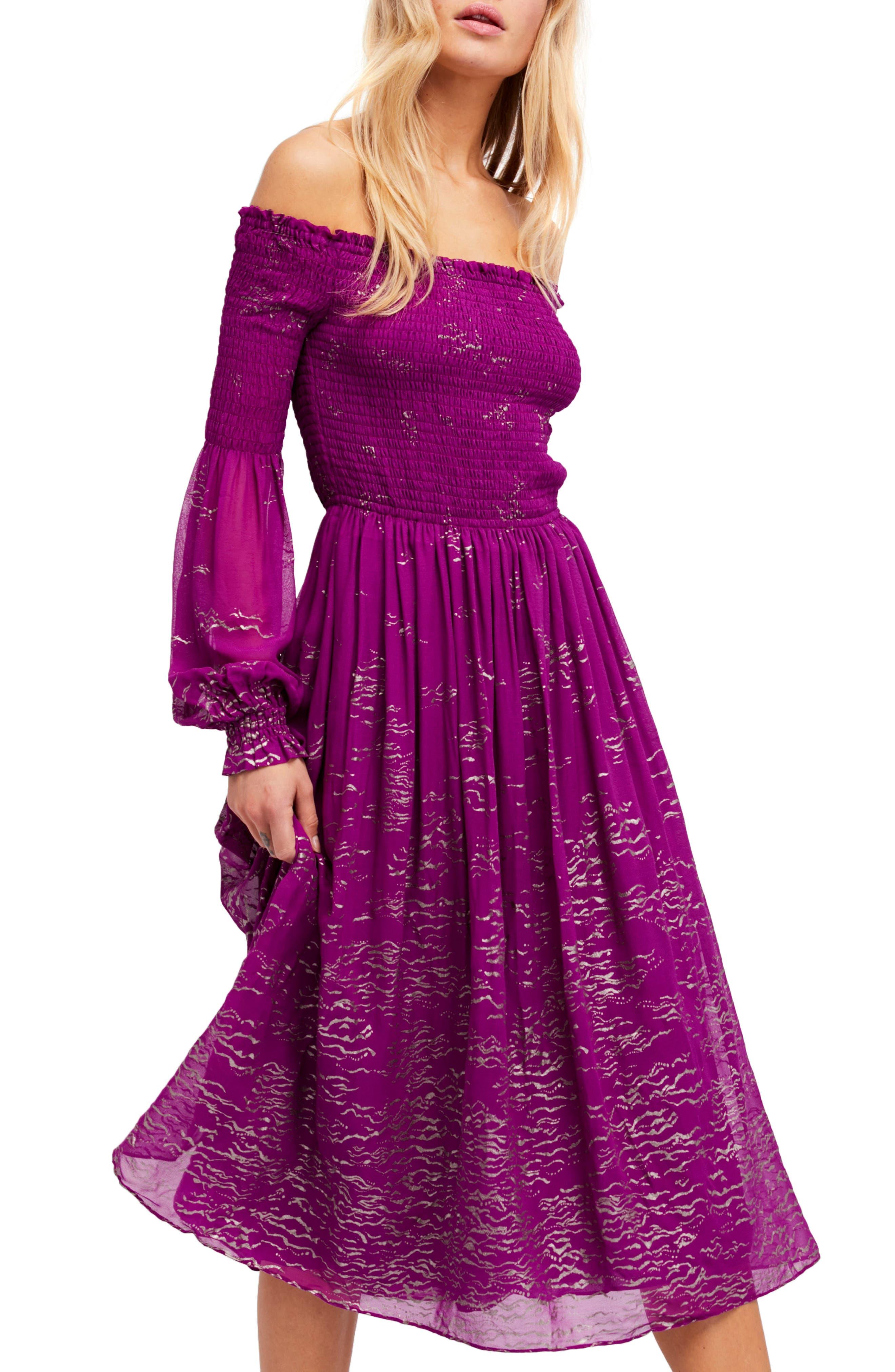 Foiled Smocked Midi Dress,                             Alternate thumbnail 10, color,