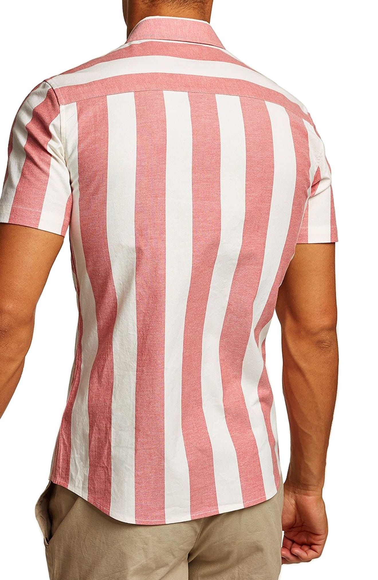 Muscle Stripe Woven Shirt,                             Alternate thumbnail 3, color,                             RED MULTI