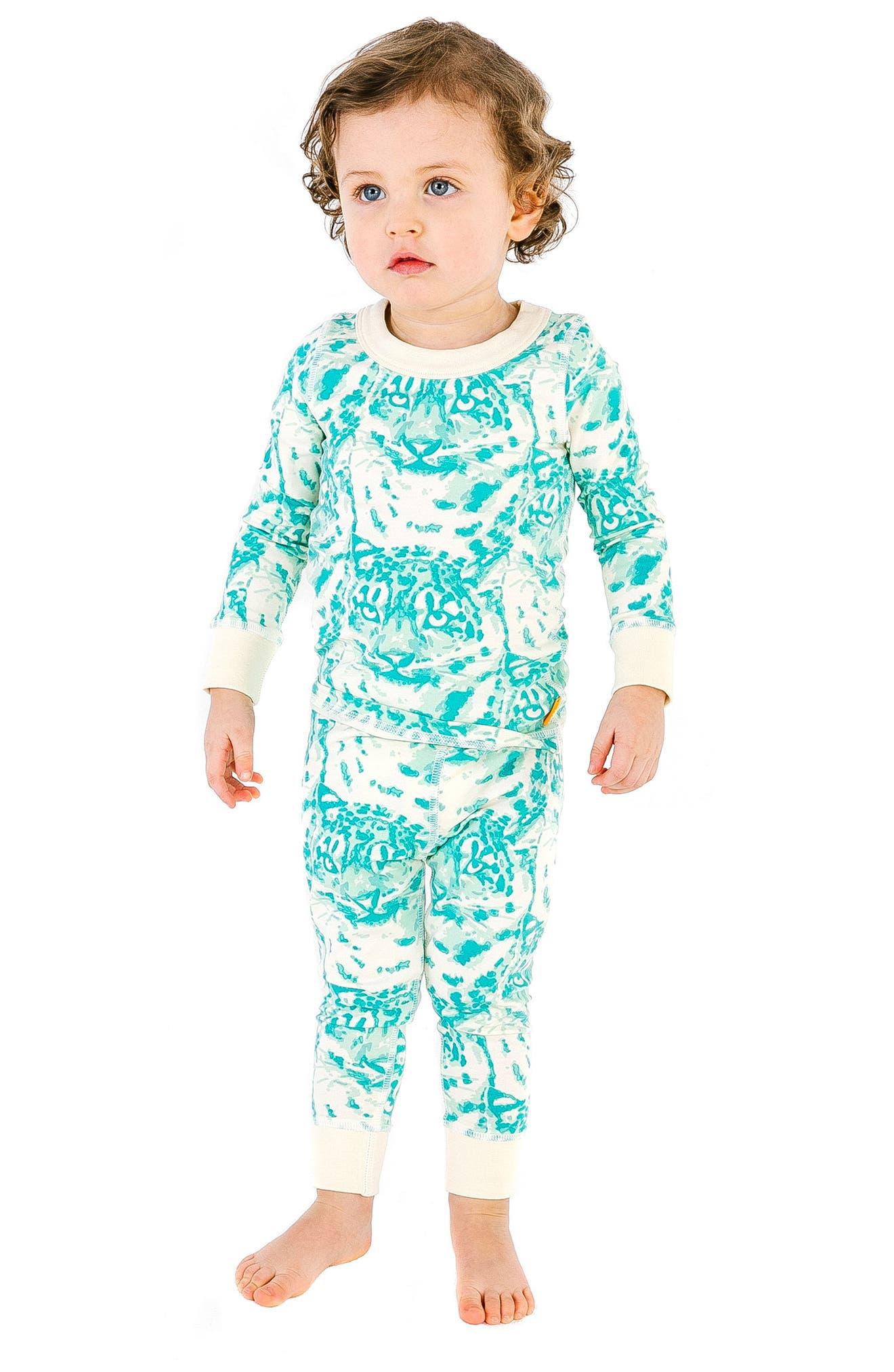 Cat Camo Organic Cotton Fitted Two-Piece Pajamas,                             Alternate thumbnail 2, color,                             AQUA