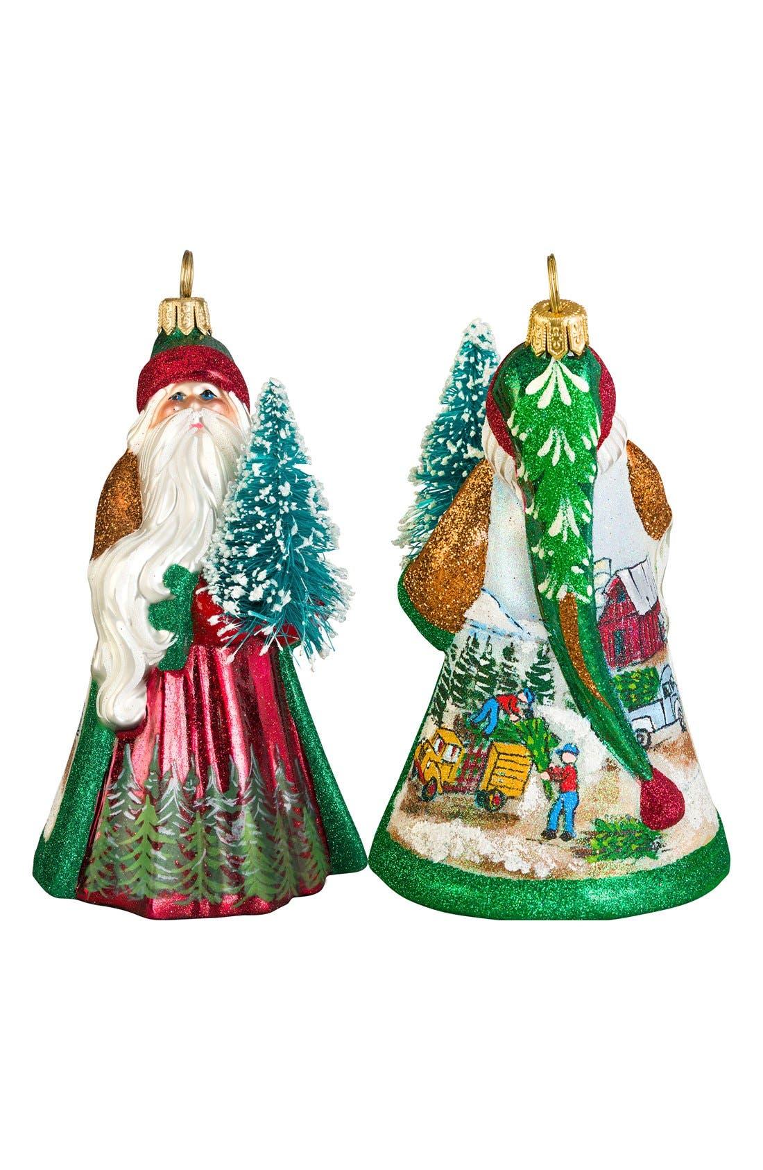 'Glitterazzi' Santa Ornament,                         Main,                         color, CHRISTMAS TREE FARM