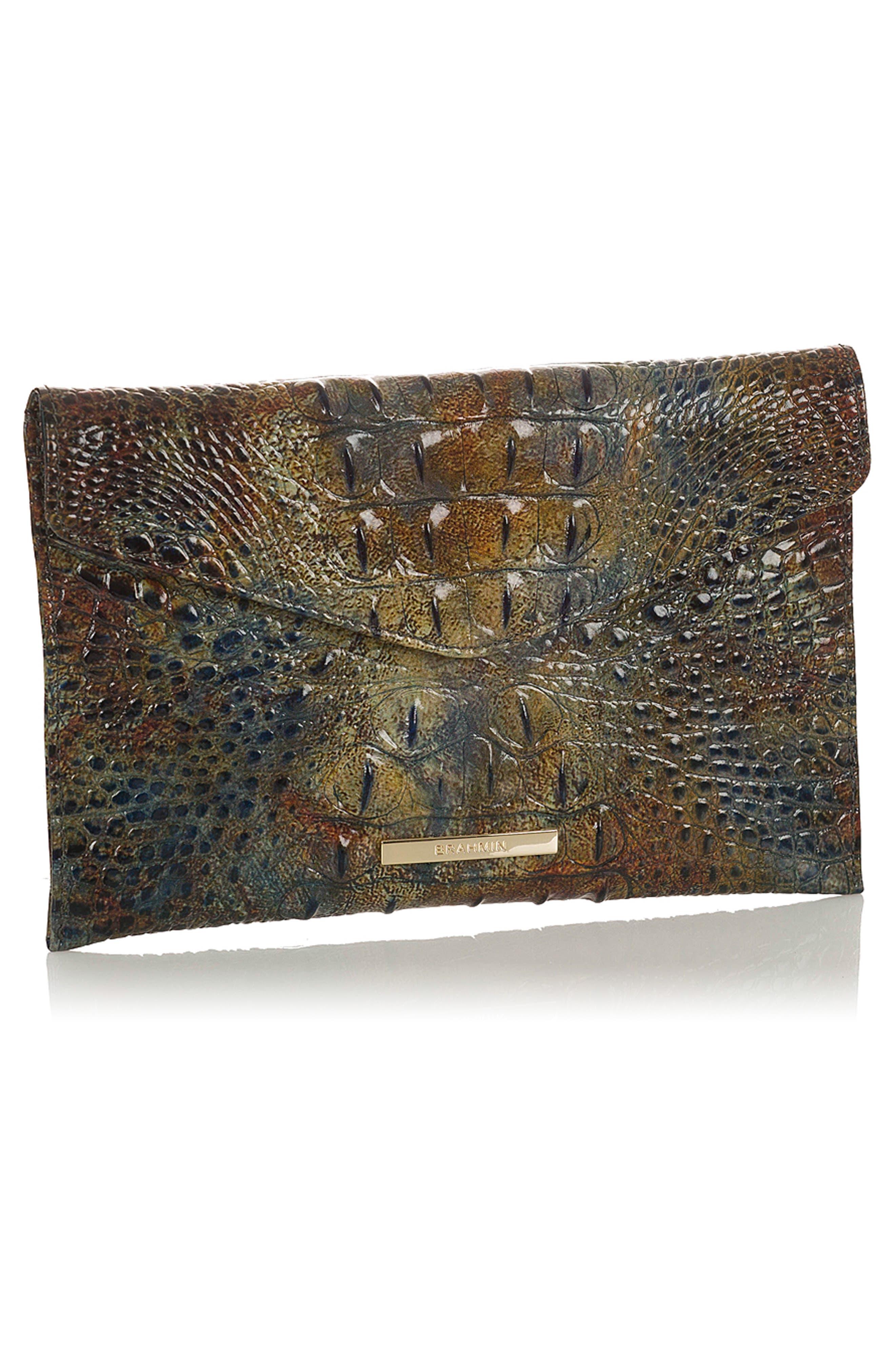 BRAHMIN,                             Melbourne Croc Embossed Leather Envelope Clutch,                             Alternate thumbnail 4, color,                             204