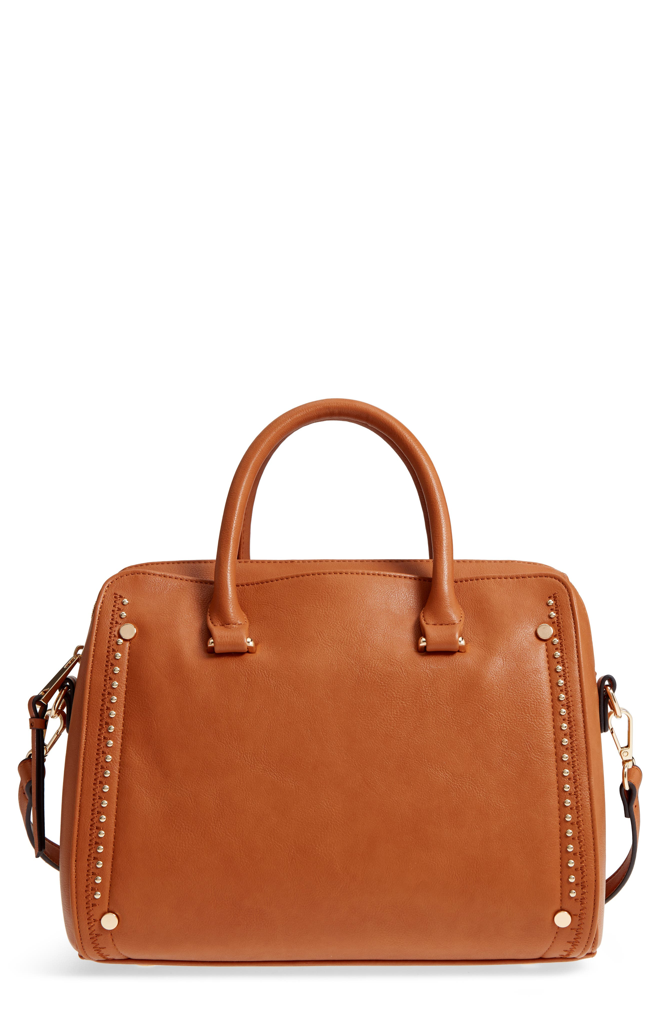 Speedy Studded Faux Leather Satchel,                             Main thumbnail 2, color,