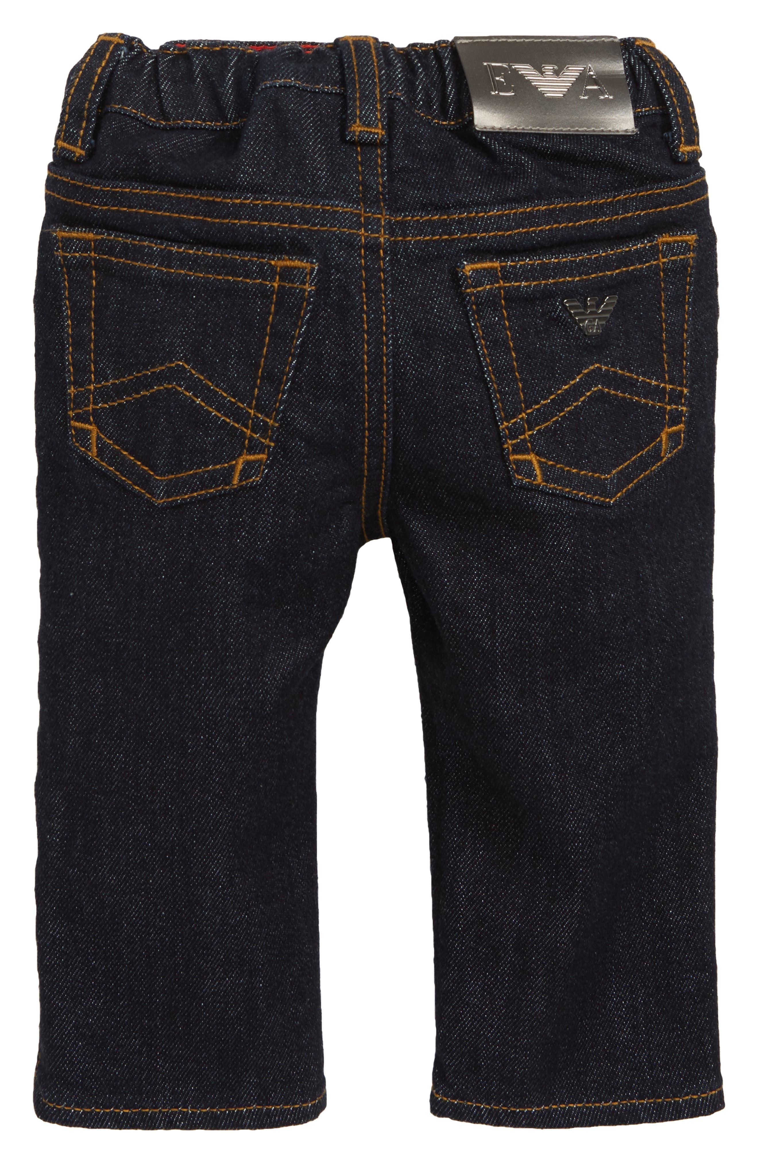 Elastic Waist Jeans,                             Alternate thumbnail 2, color,                             SOLID DARK BLUE