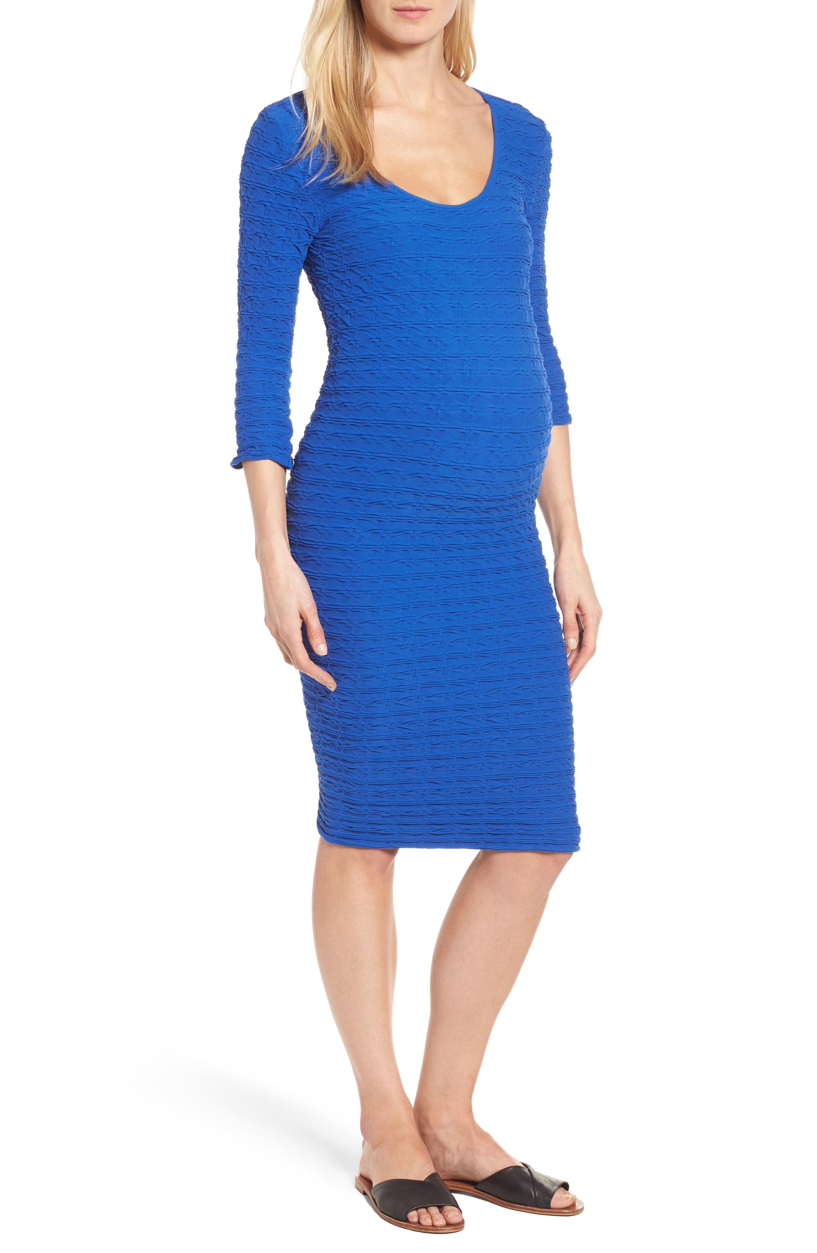 TEES BY TINA Crinkle Maternity Sheath Dress, Main, color, 400