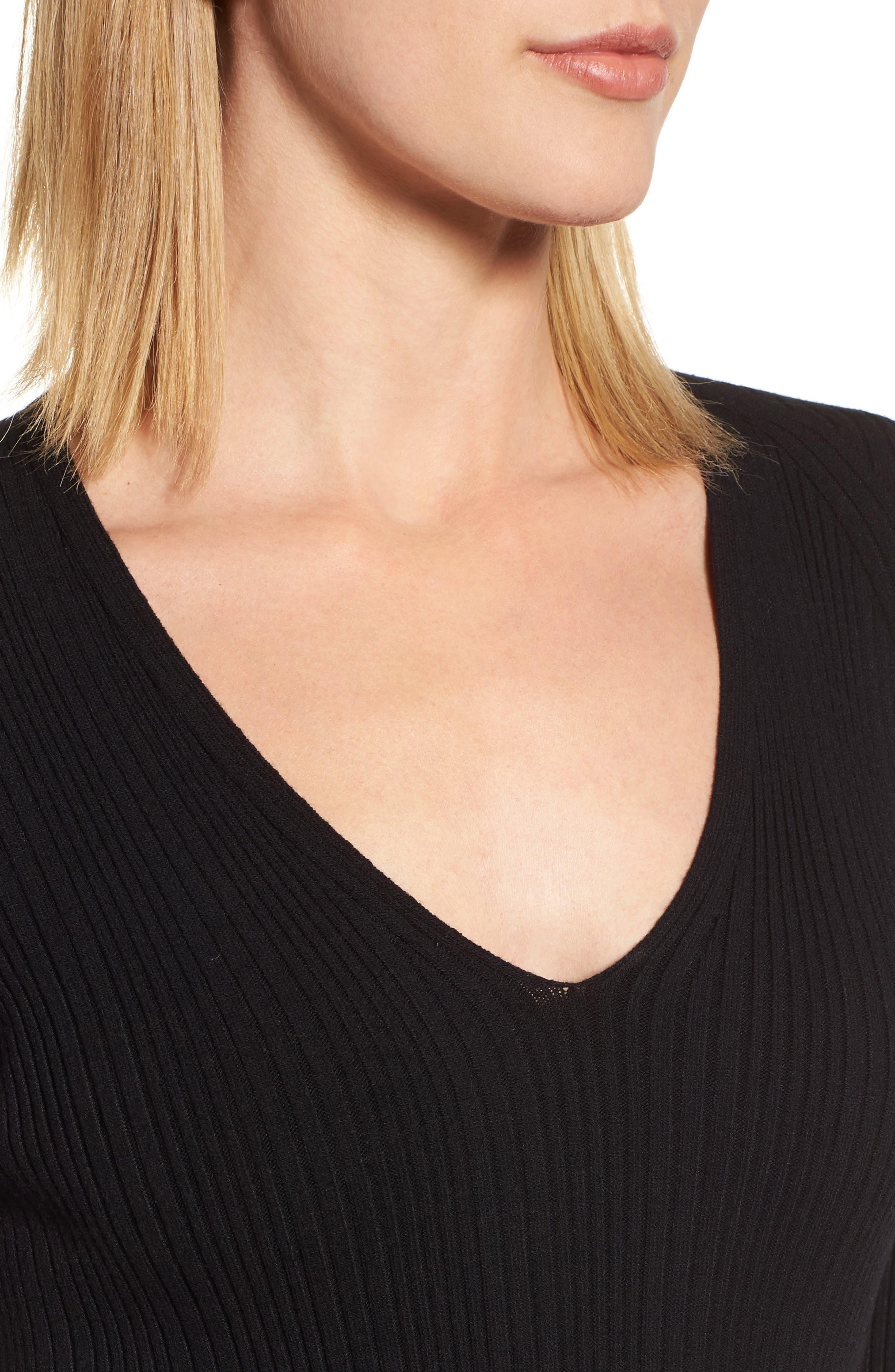 Ribbed Knit Midi Dress,                             Alternate thumbnail 4, color,                             001