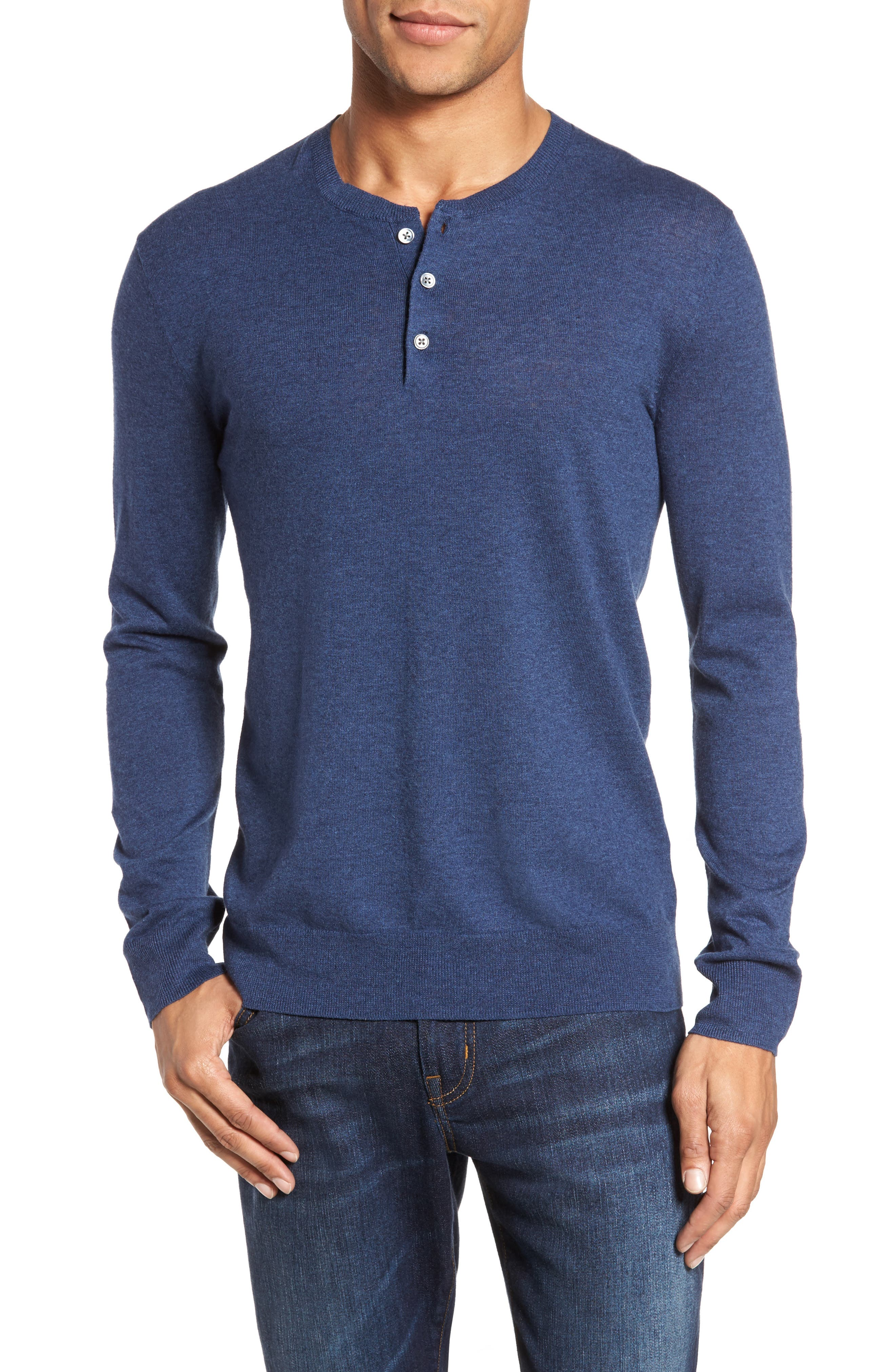 Cotton & Linen Blend Henley,                         Main,                         color, INDIGO DENIM