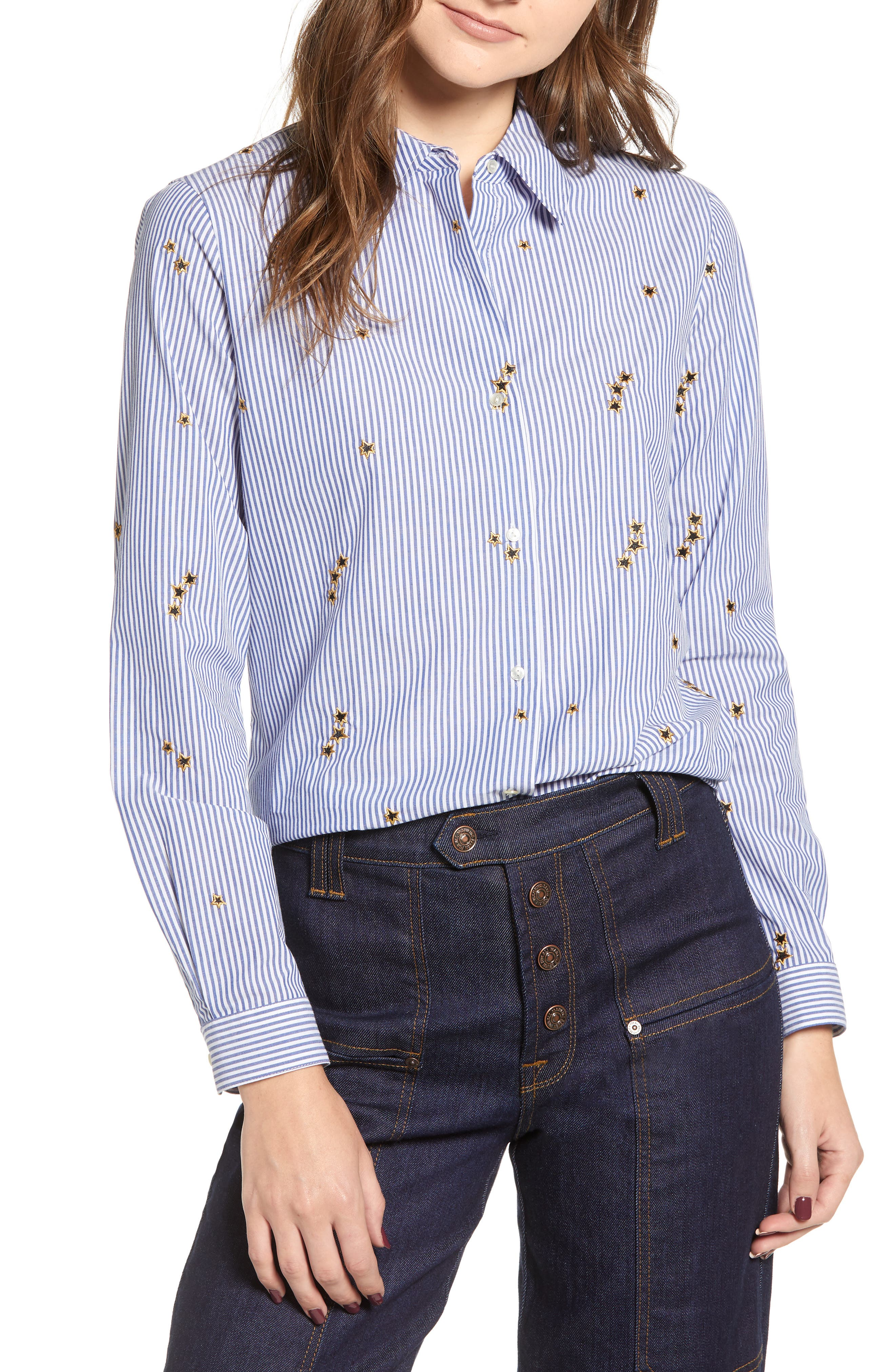 Relaxed Fit Star Detail Stripe Cotton Blouse,                         Main,                         color, BLUE WHITE PIN STRIPES