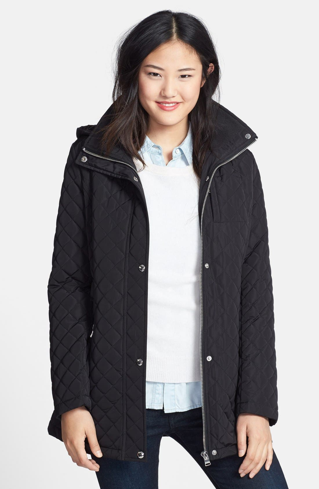 Hooded Quilted Jacket,                         Main,                         color, 001