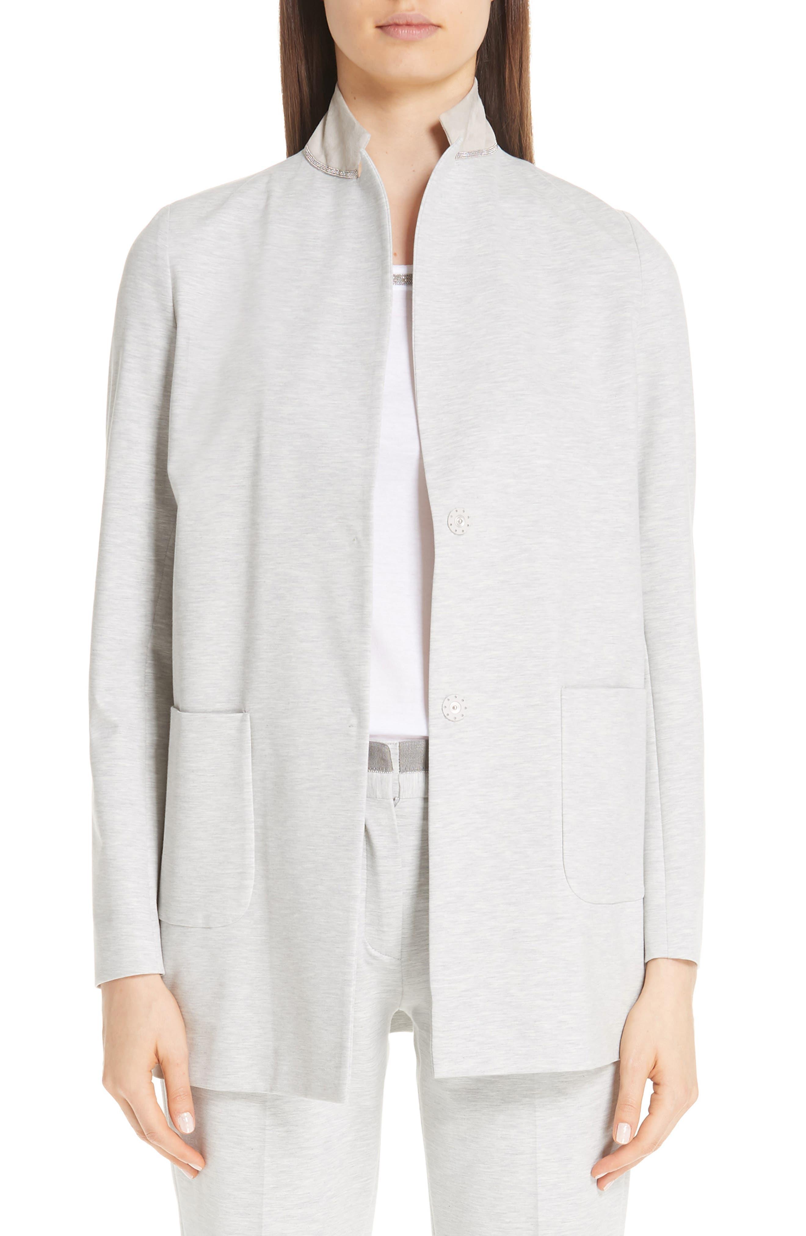 Jersey Long Blazer, Main, color, GREY