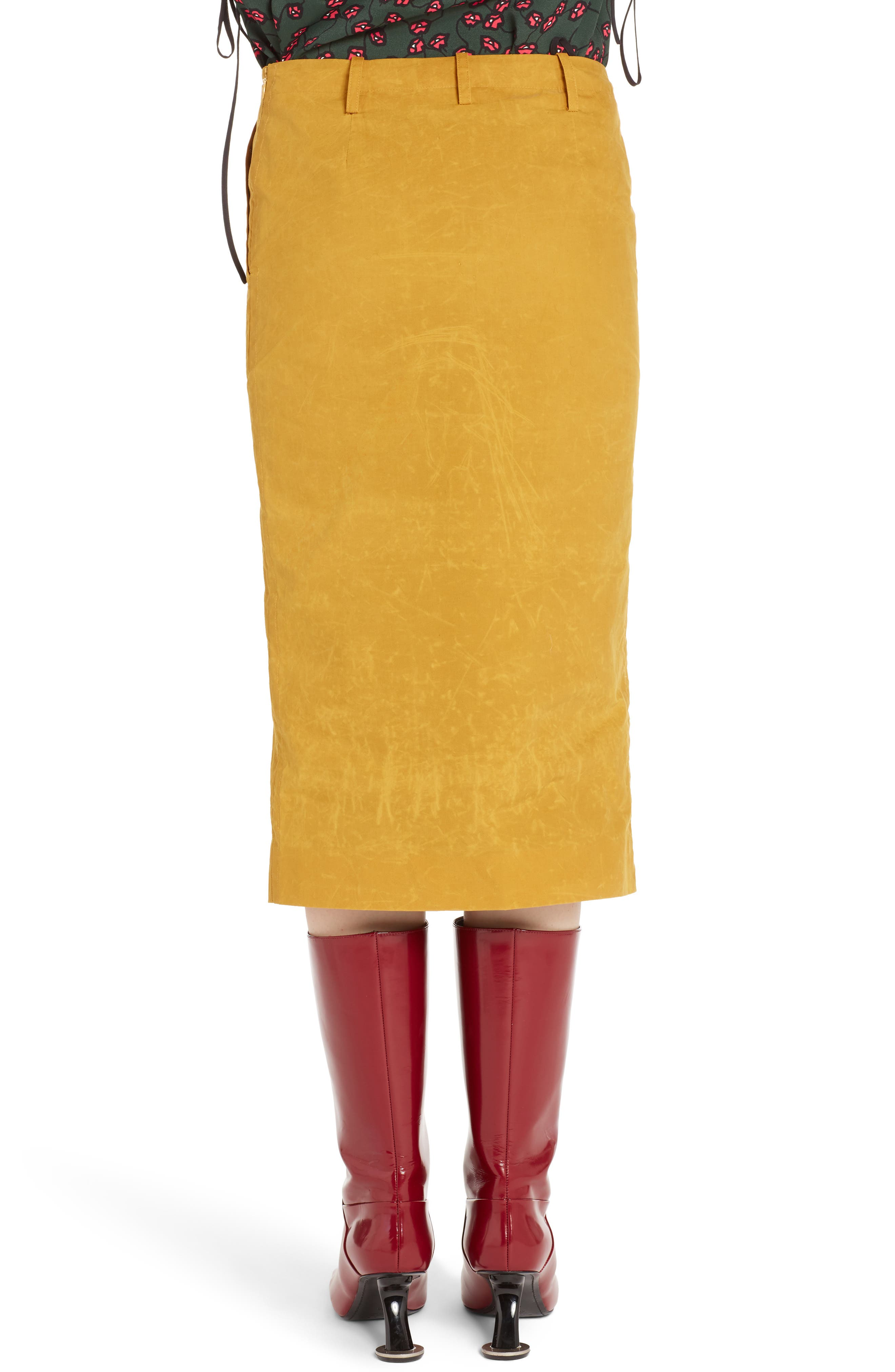 Waxed Cotton Pencil Skirt,                             Alternate thumbnail 2, color,                             700