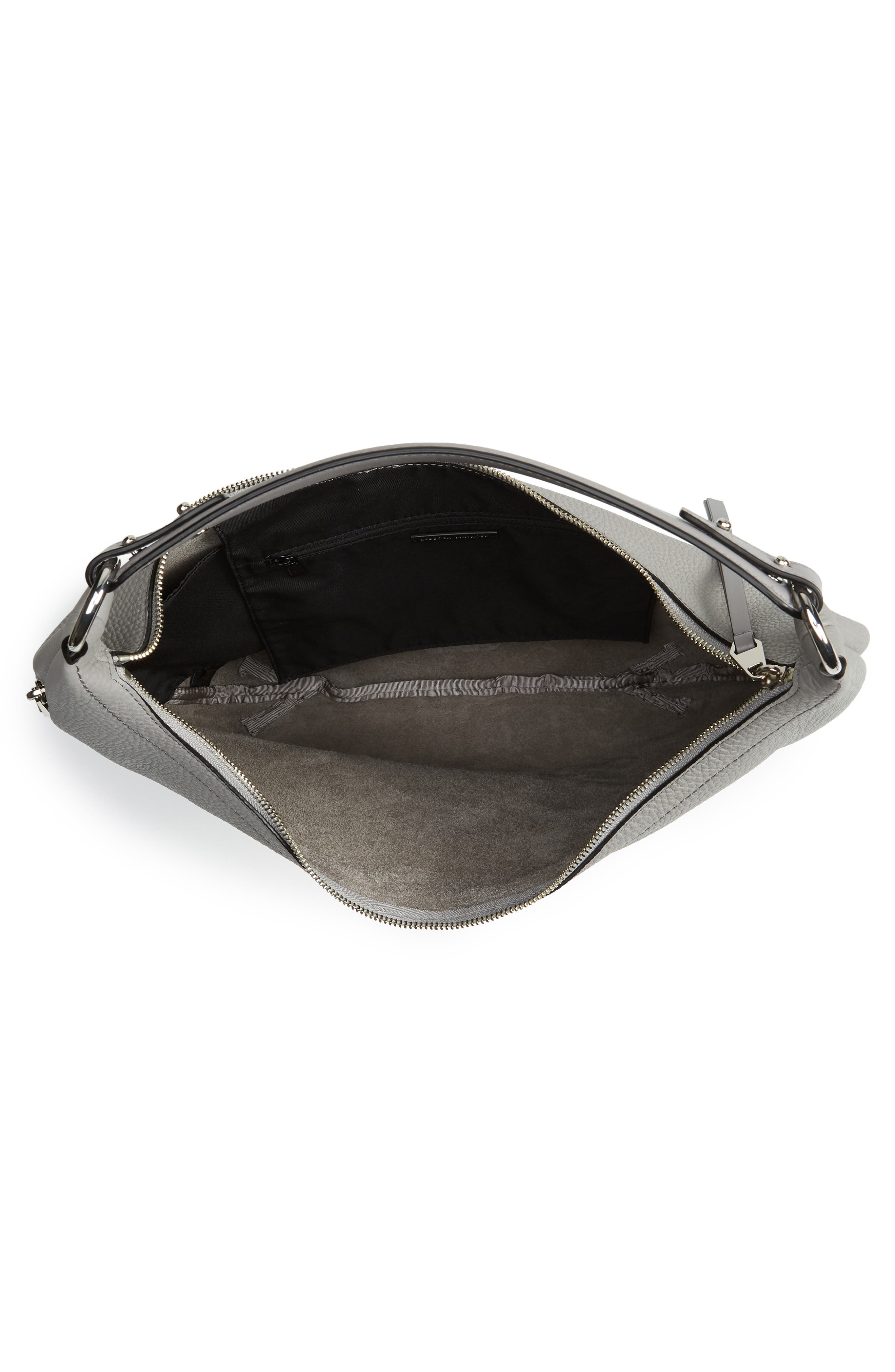 Michelle Leather Hobo,                             Alternate thumbnail 5, color,                             GREY