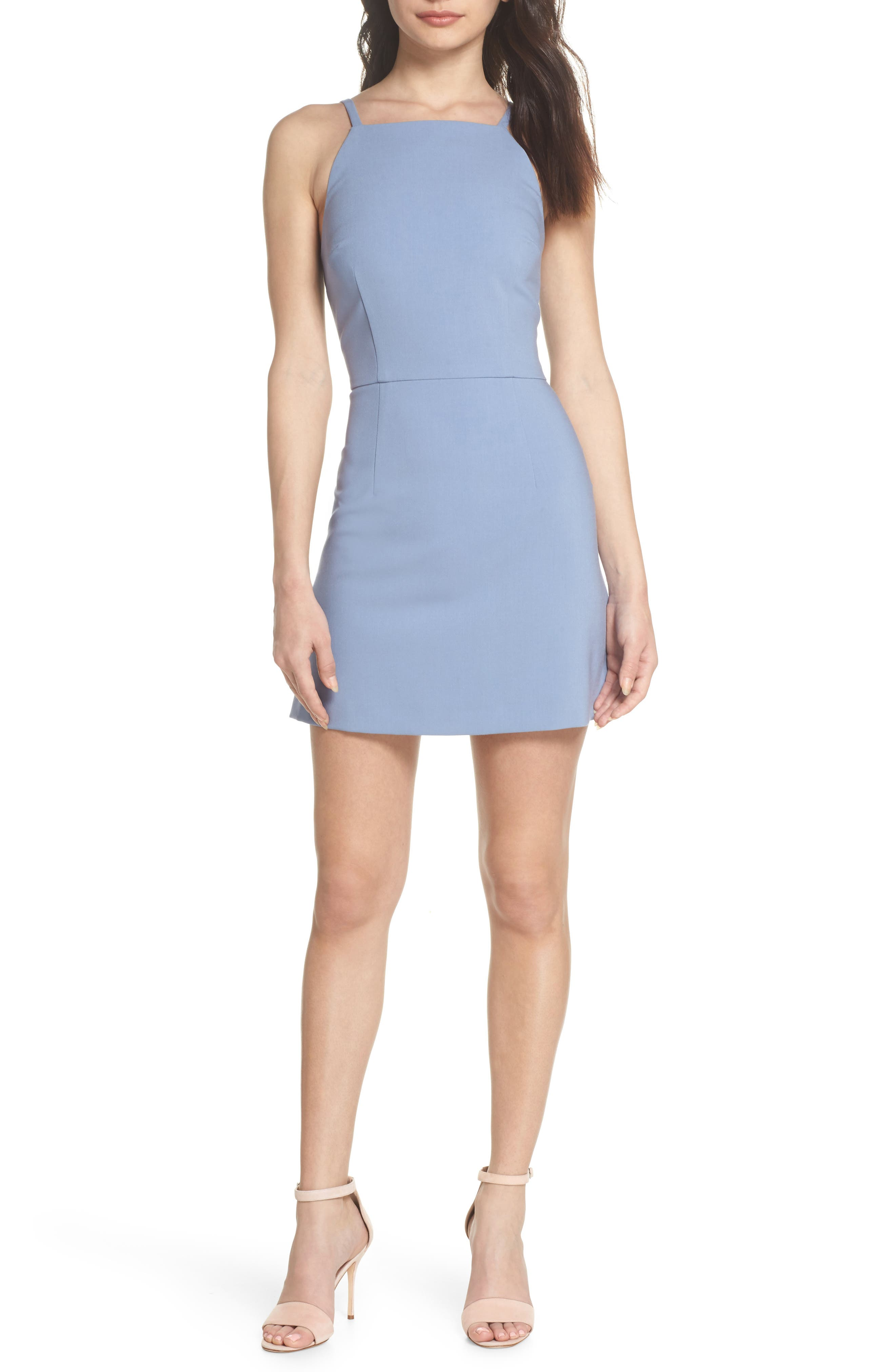 French Connection Whisper Light Sheath Minidress, Blue