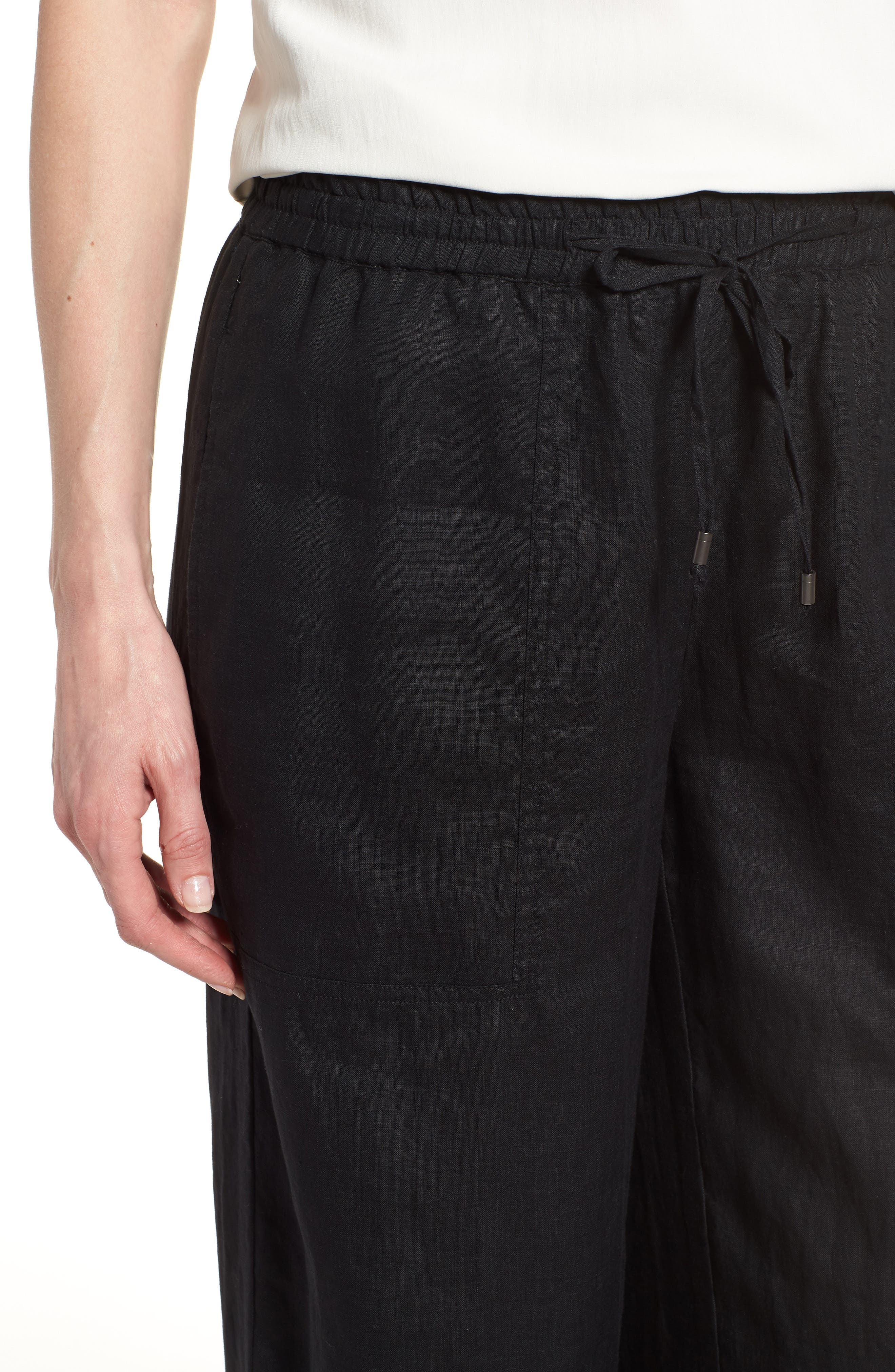 Wide Leg Organic Linen Pants,                             Alternate thumbnail 4, color,                             001