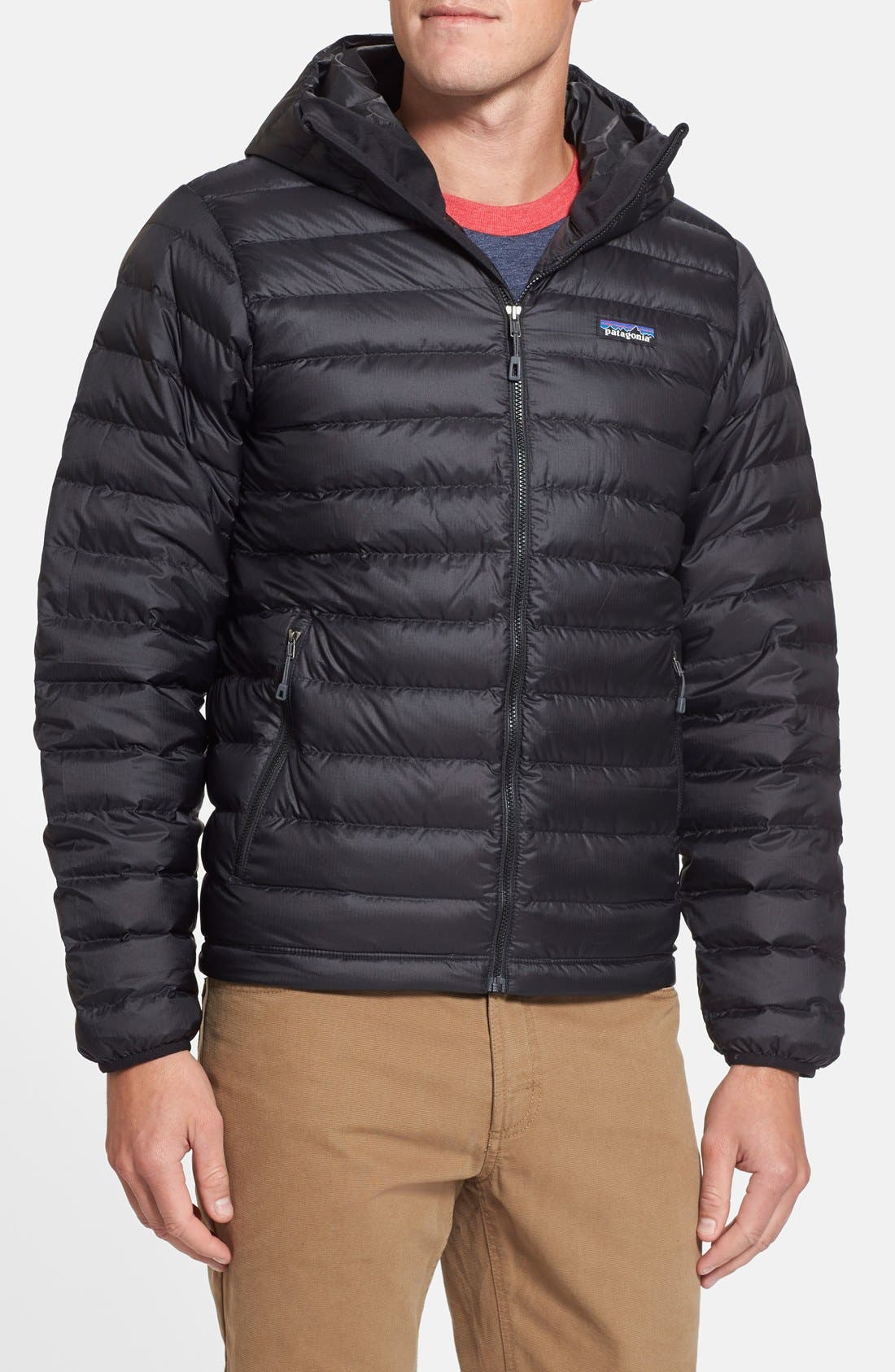 Packable Windproof & Water Resistant Goose Down Sweater Hooded Jacket,                             Main thumbnail 1, color,                             BLACK