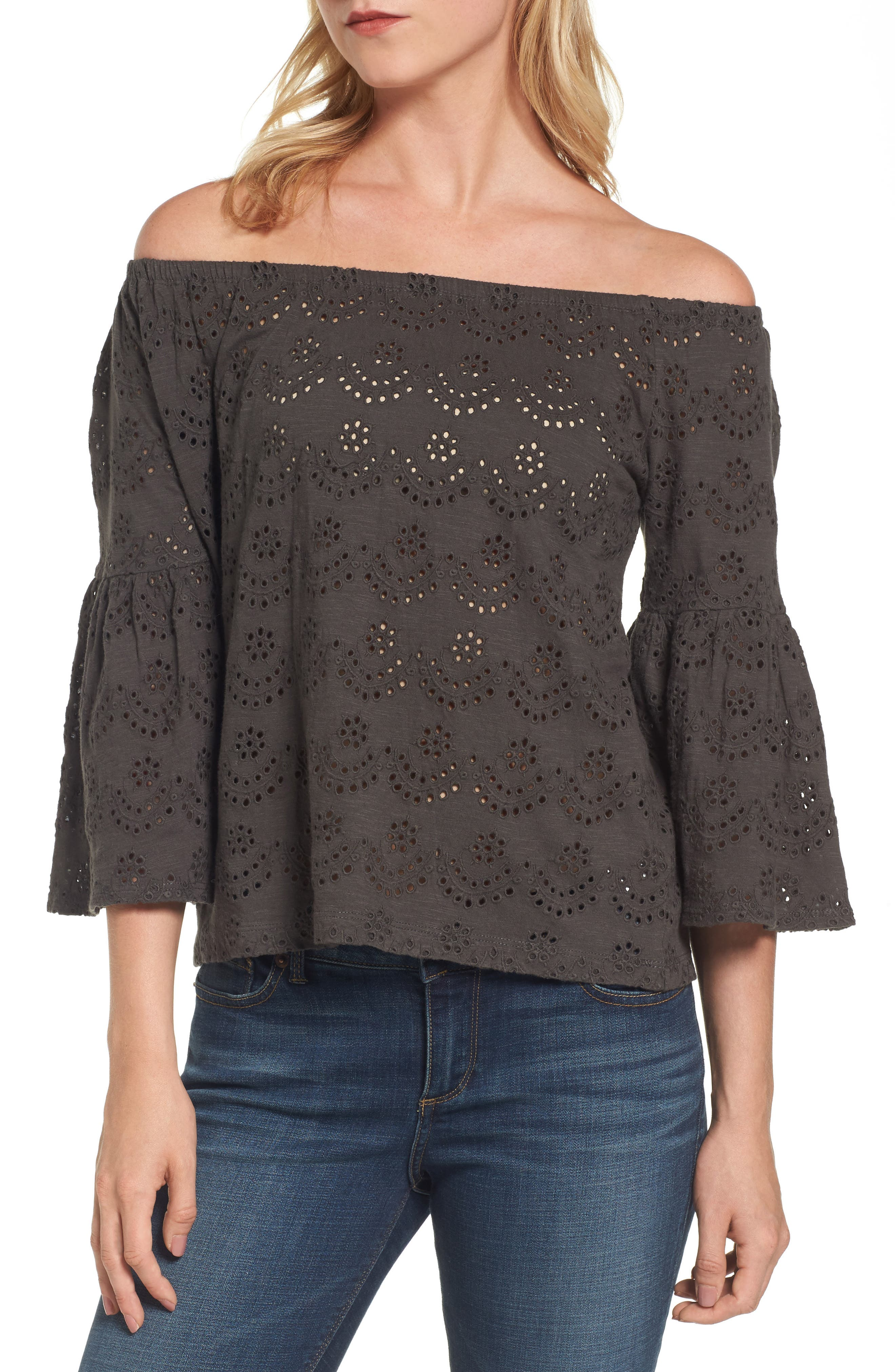 Eyelet Off the Shoulder Blouse,                             Main thumbnail 1, color,                             002