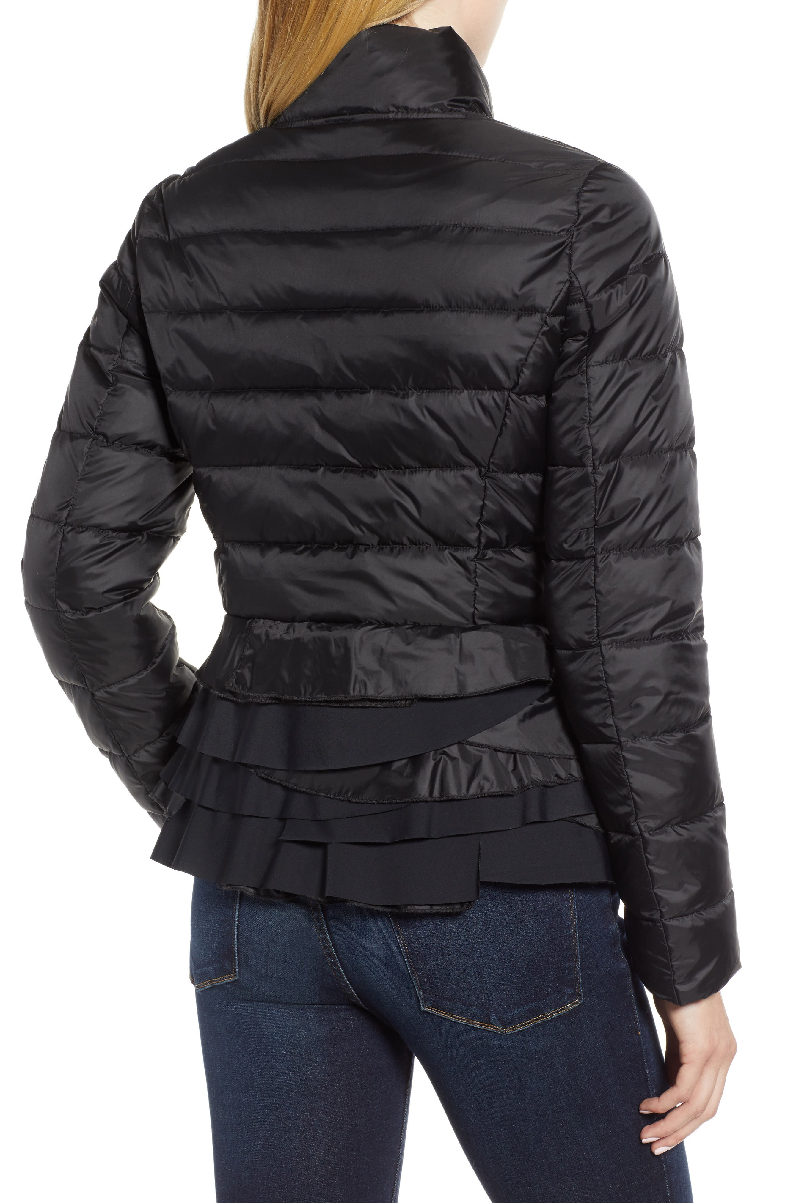 Zoey Ruffle Hem Puffer Jacket,                             Alternate thumbnail 2, color,                             BLACK