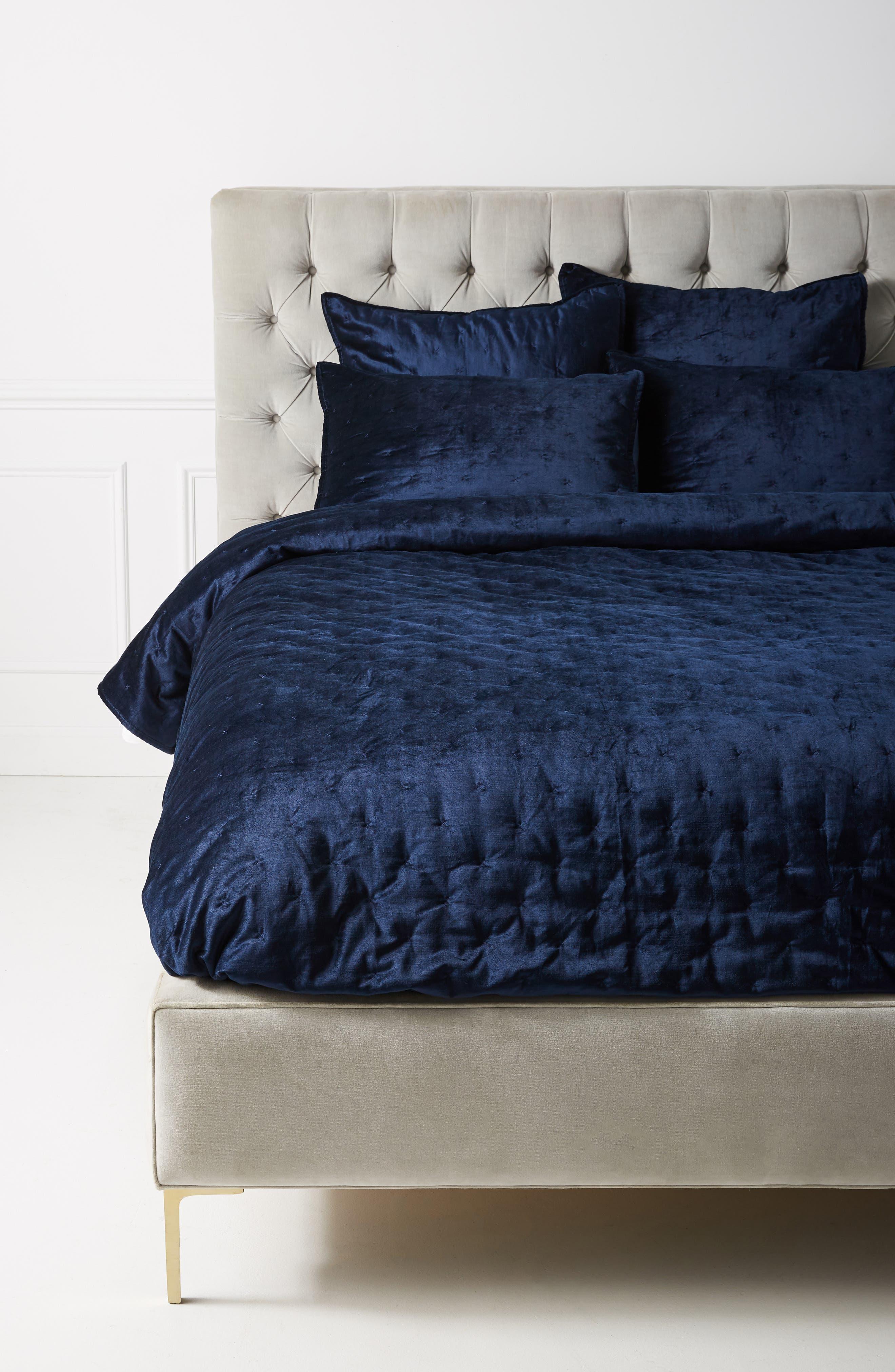 ANTHROPOLOGIE Velvet Cross Stitch Quilt, Main, color, NAVY