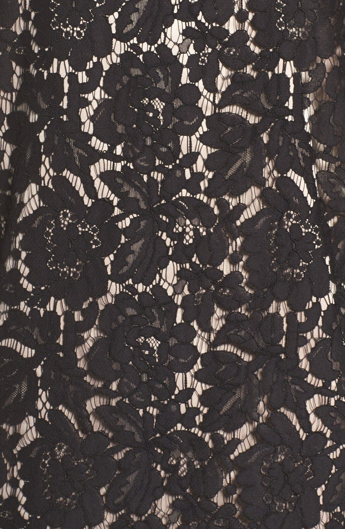Cold Shoulder Lace Shift Dress,                             Alternate thumbnail 6, color,                             001