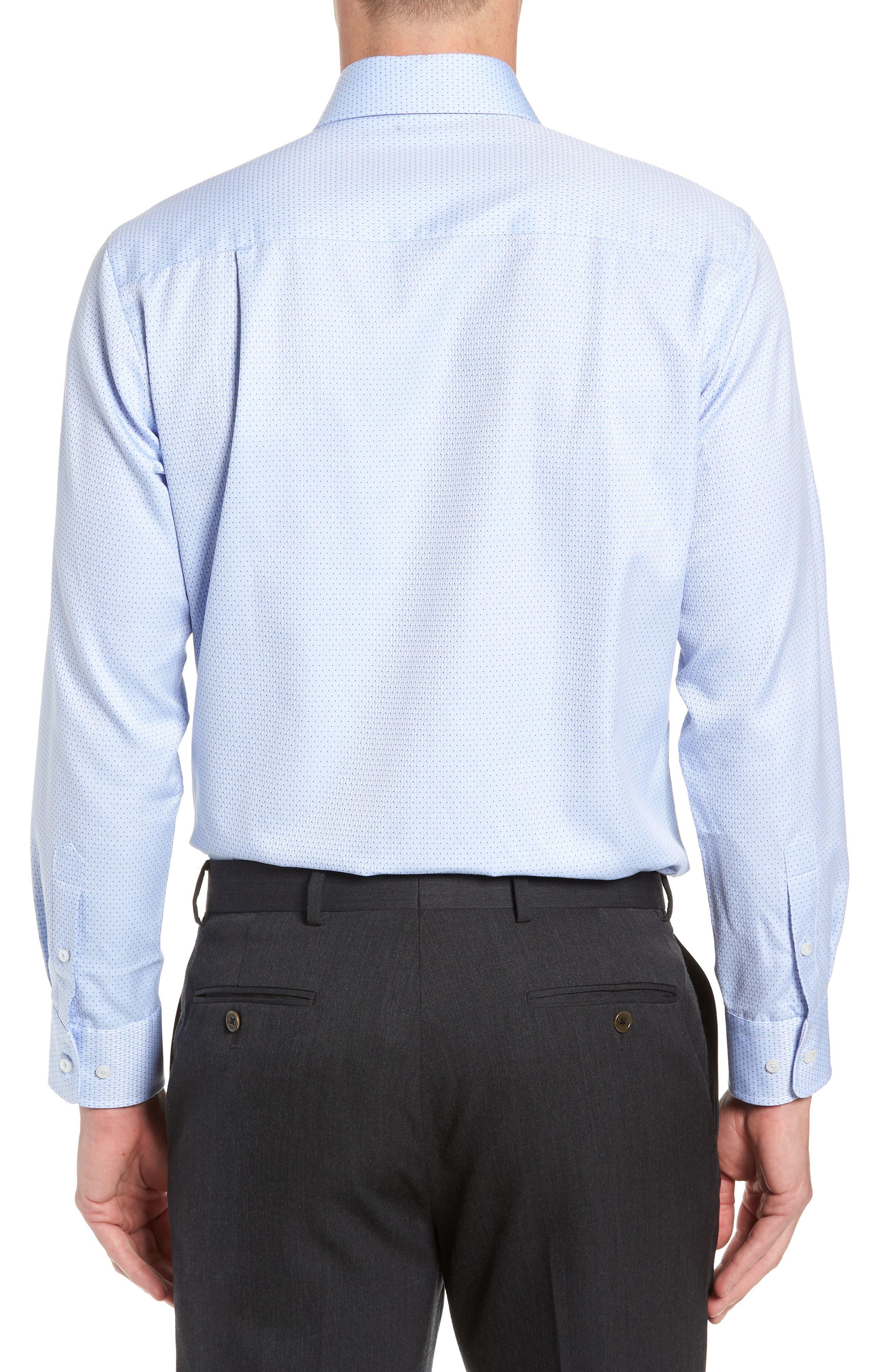 Trim Fit Check Dress Shirt,                             Alternate thumbnail 3, color,                             SKY/ NAVY