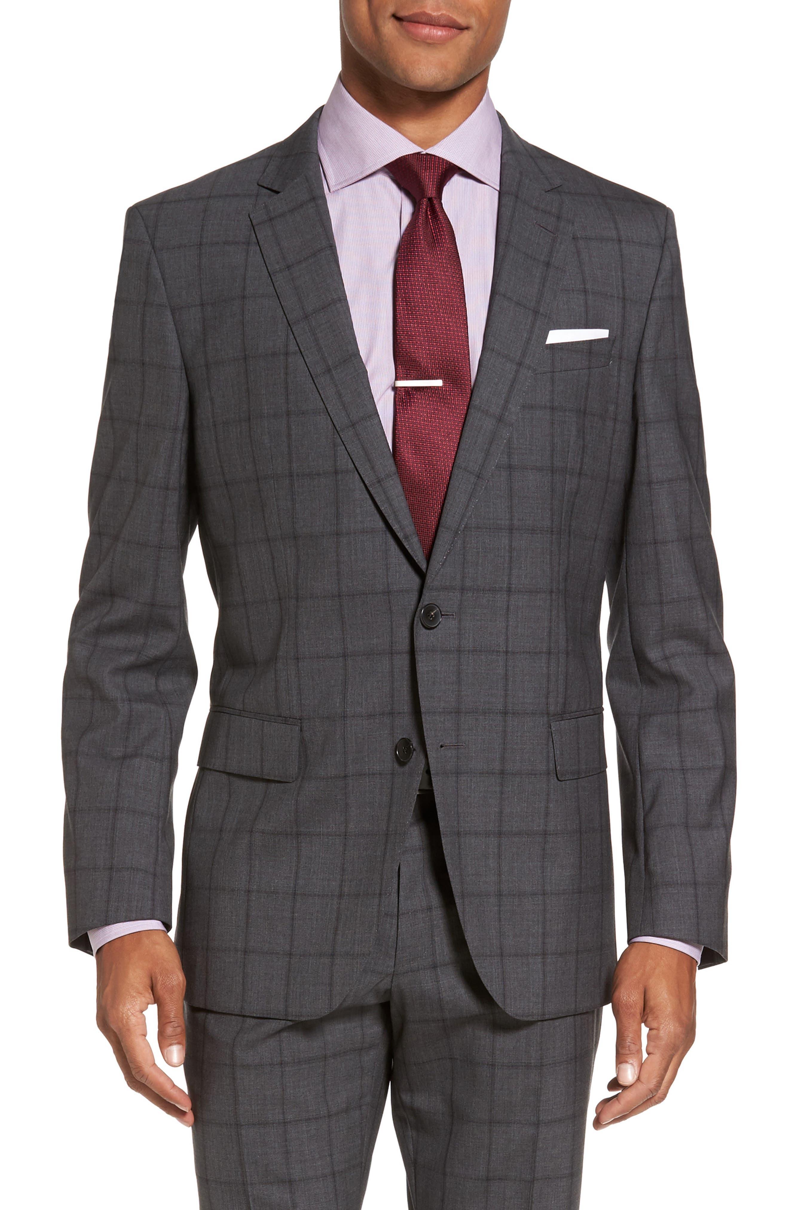 Huge/Genius Trim Fit Check Suit,                             Alternate thumbnail 5, color,                             061