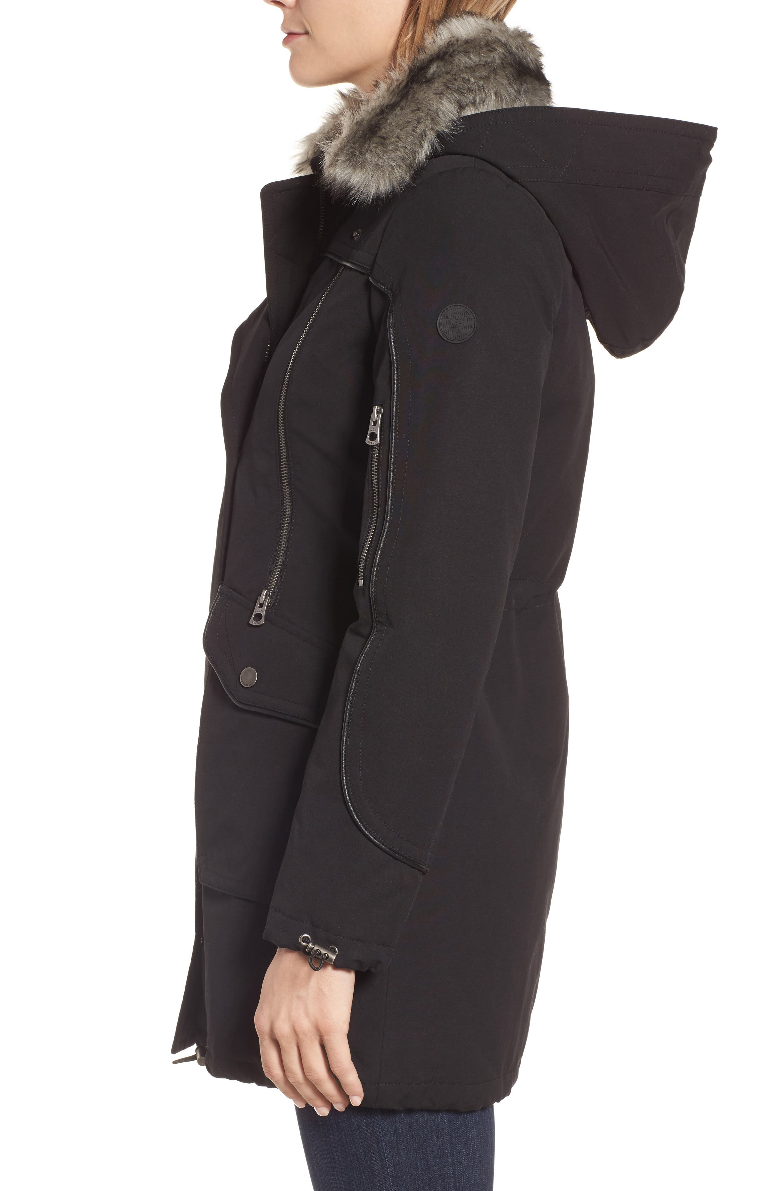 Zip Detail Parka with Faux Fur,                             Alternate thumbnail 3, color,                             001