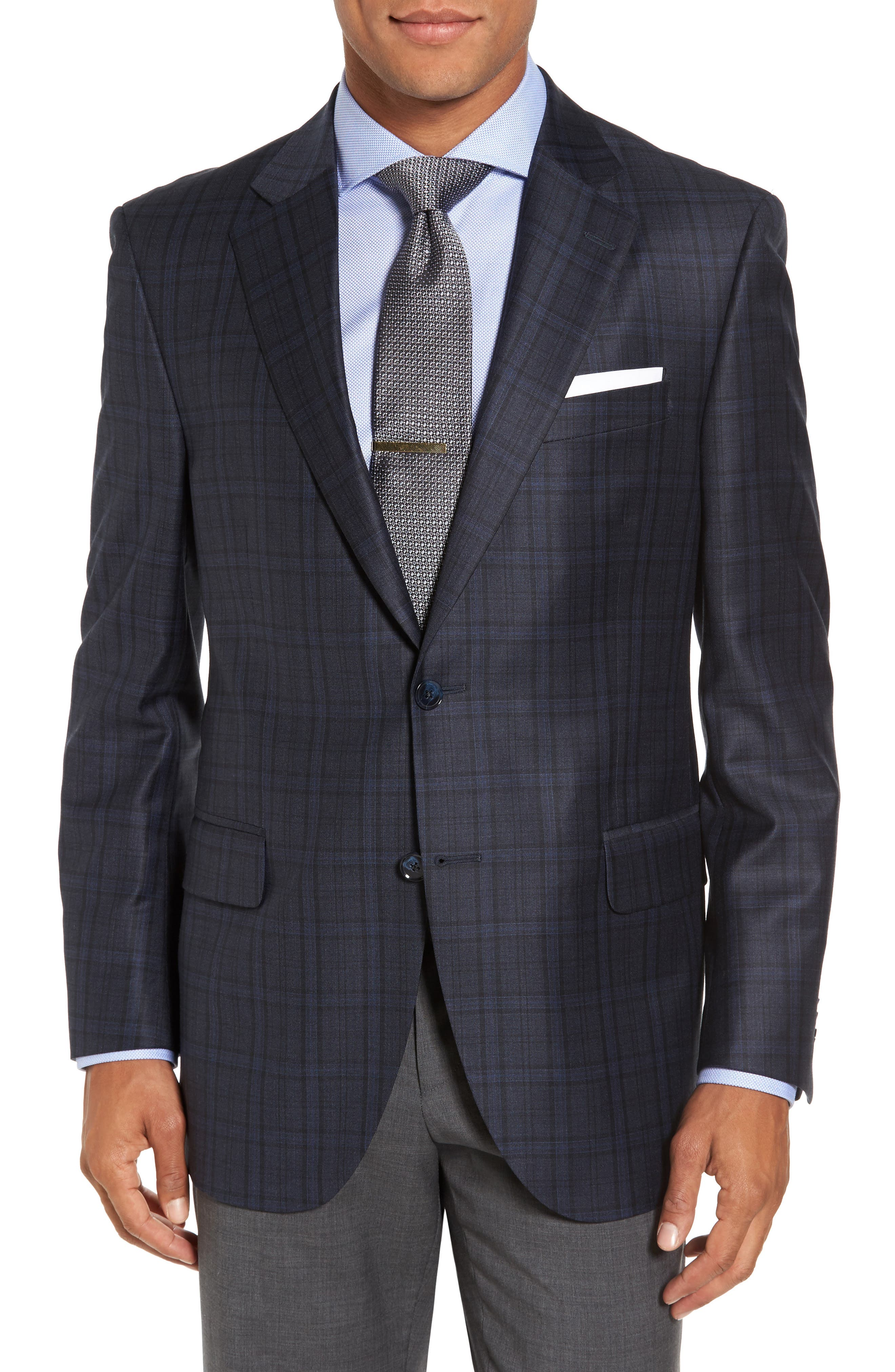 Classic Fit Plaid Wool Sport Coat,                             Main thumbnail 1, color,