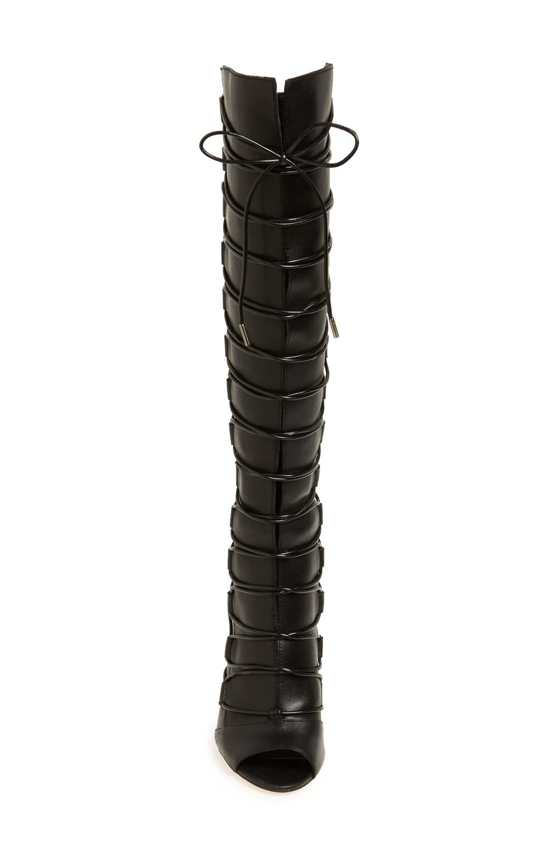 'Kesta' Strappy Knee High Boot,                             Alternate thumbnail 4, color,                             001