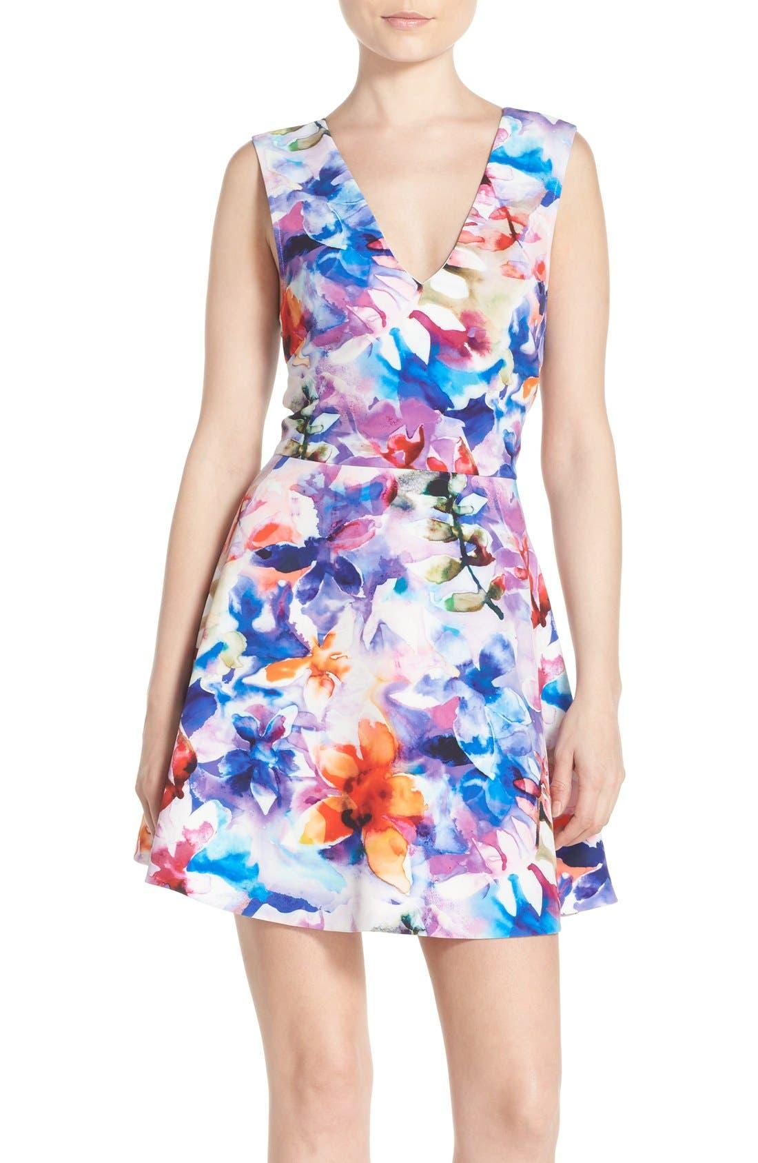 Bianca Back Cutout Fit & Flare Dress,                             Main thumbnail 8, color,
