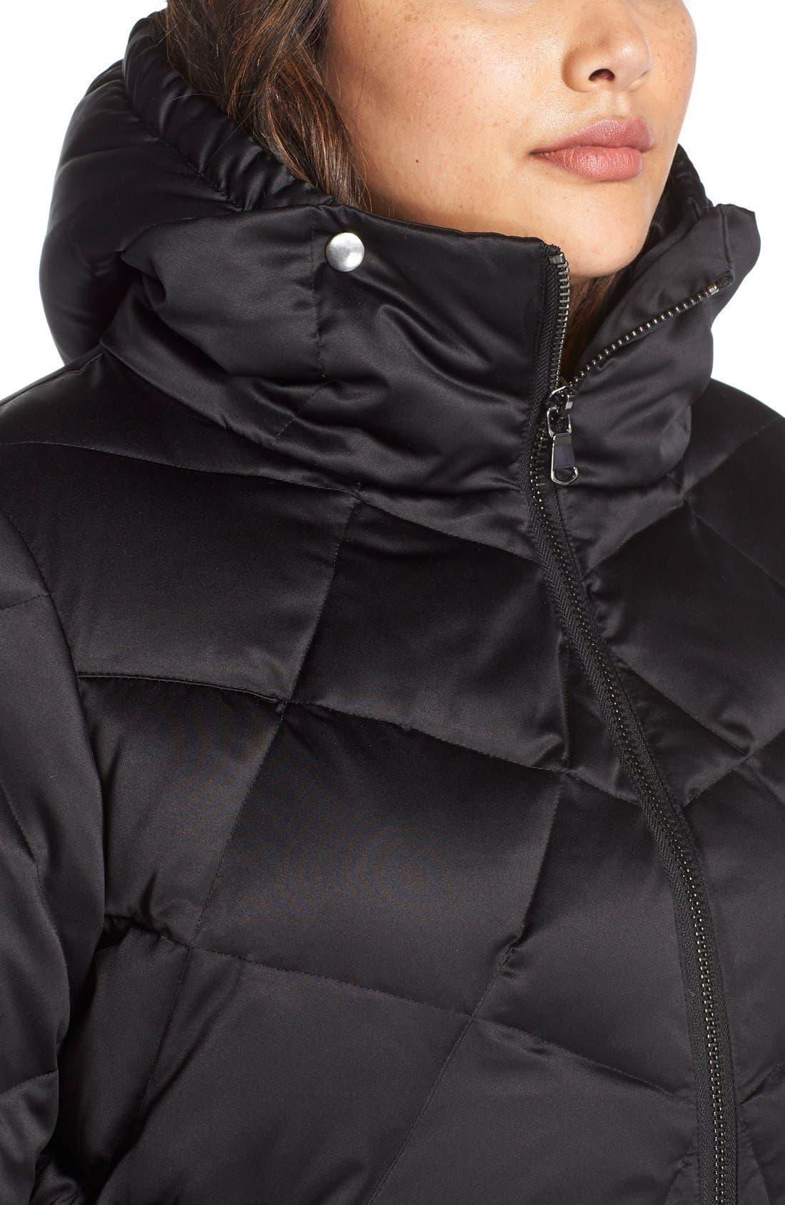 KRISTEN BLAKE,                             Hooded Diamond Quilted A-Line Down Coat,                             Alternate thumbnail 3, color,                             BLACK